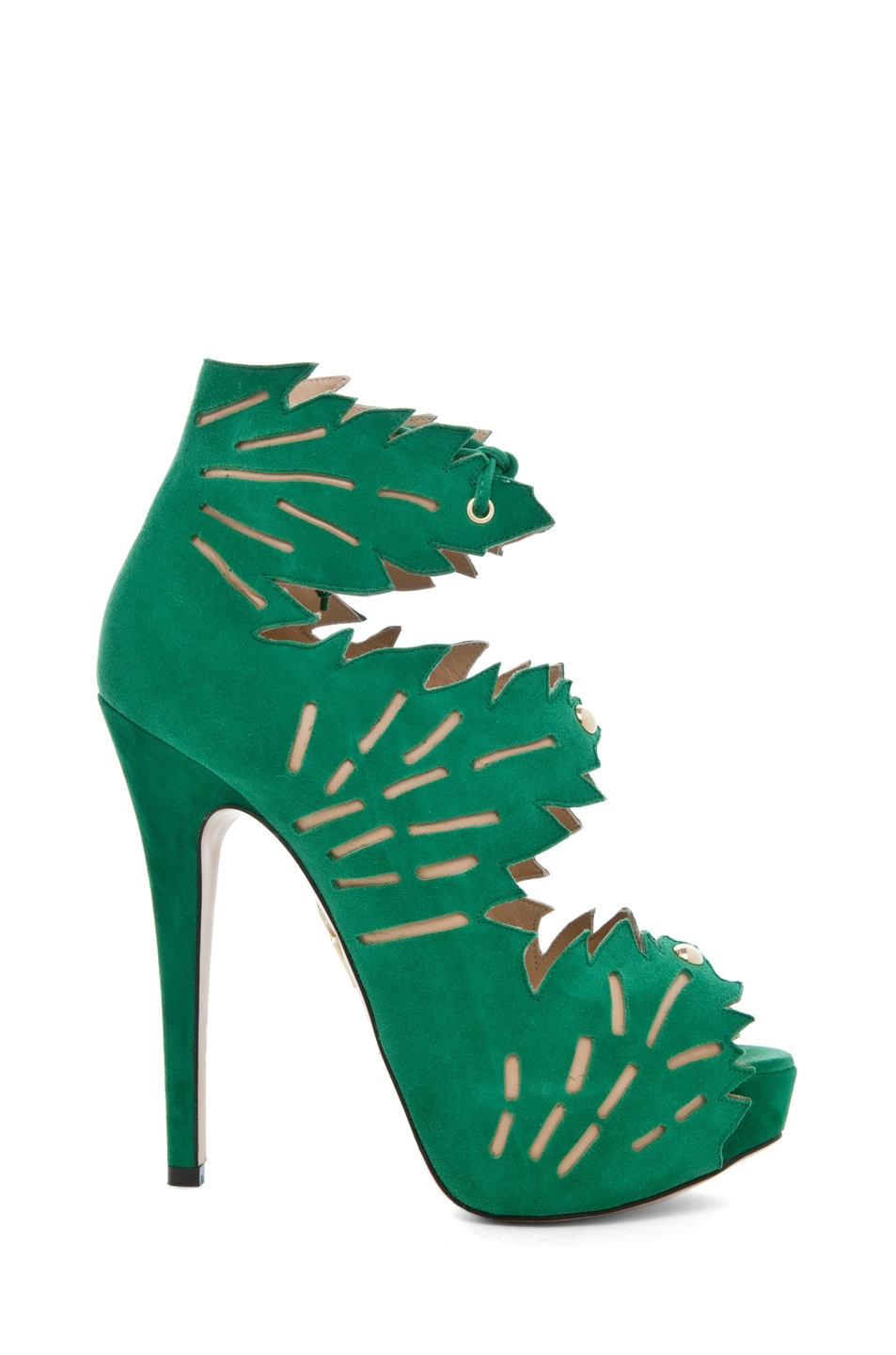 Image 1 of Charlotte Olympia Eve Suede Ankle Booties in Green