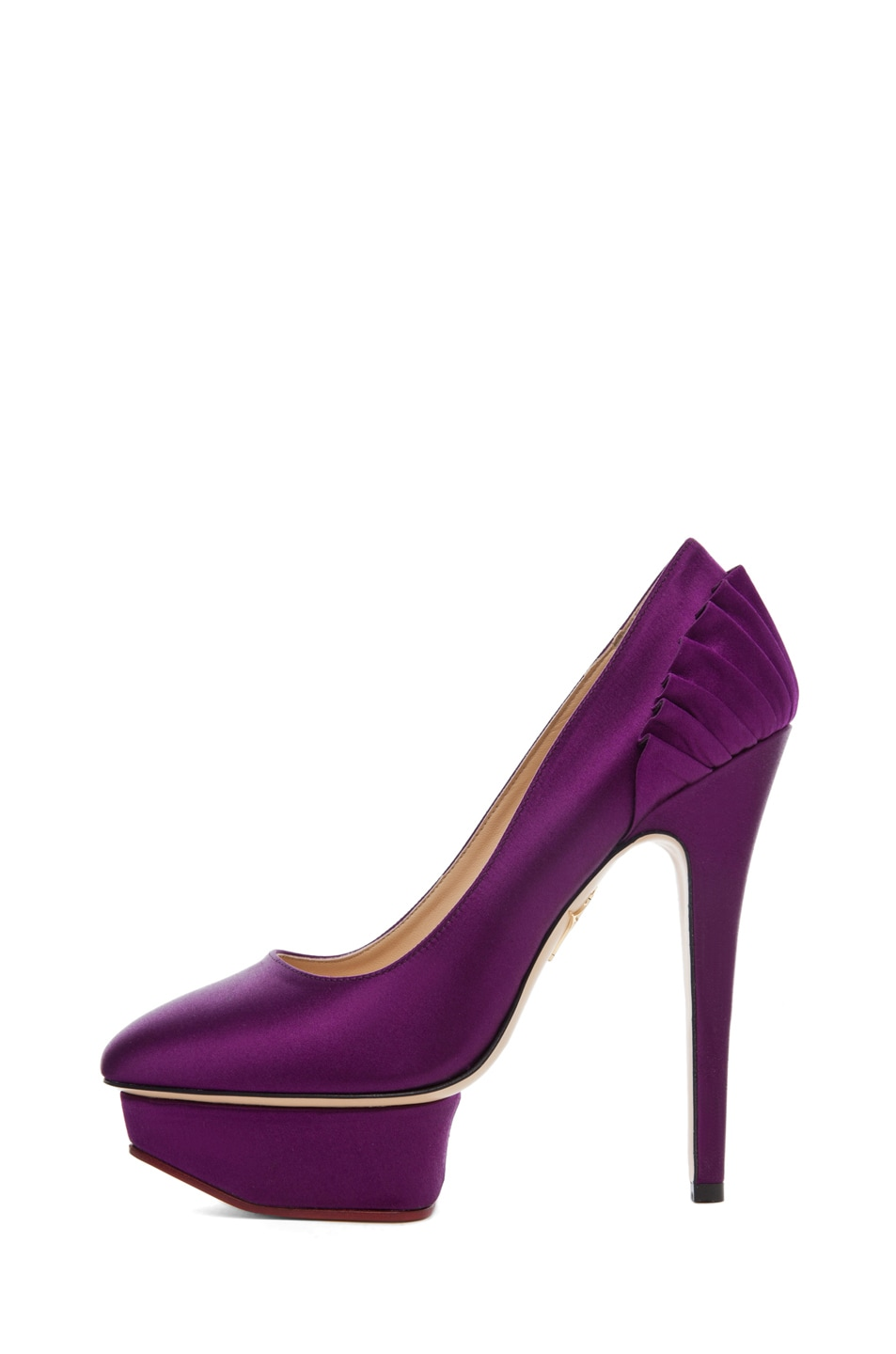Image 1 of Charlotte Olympia Paloma Signature Court Island Satin Pumps in Purple