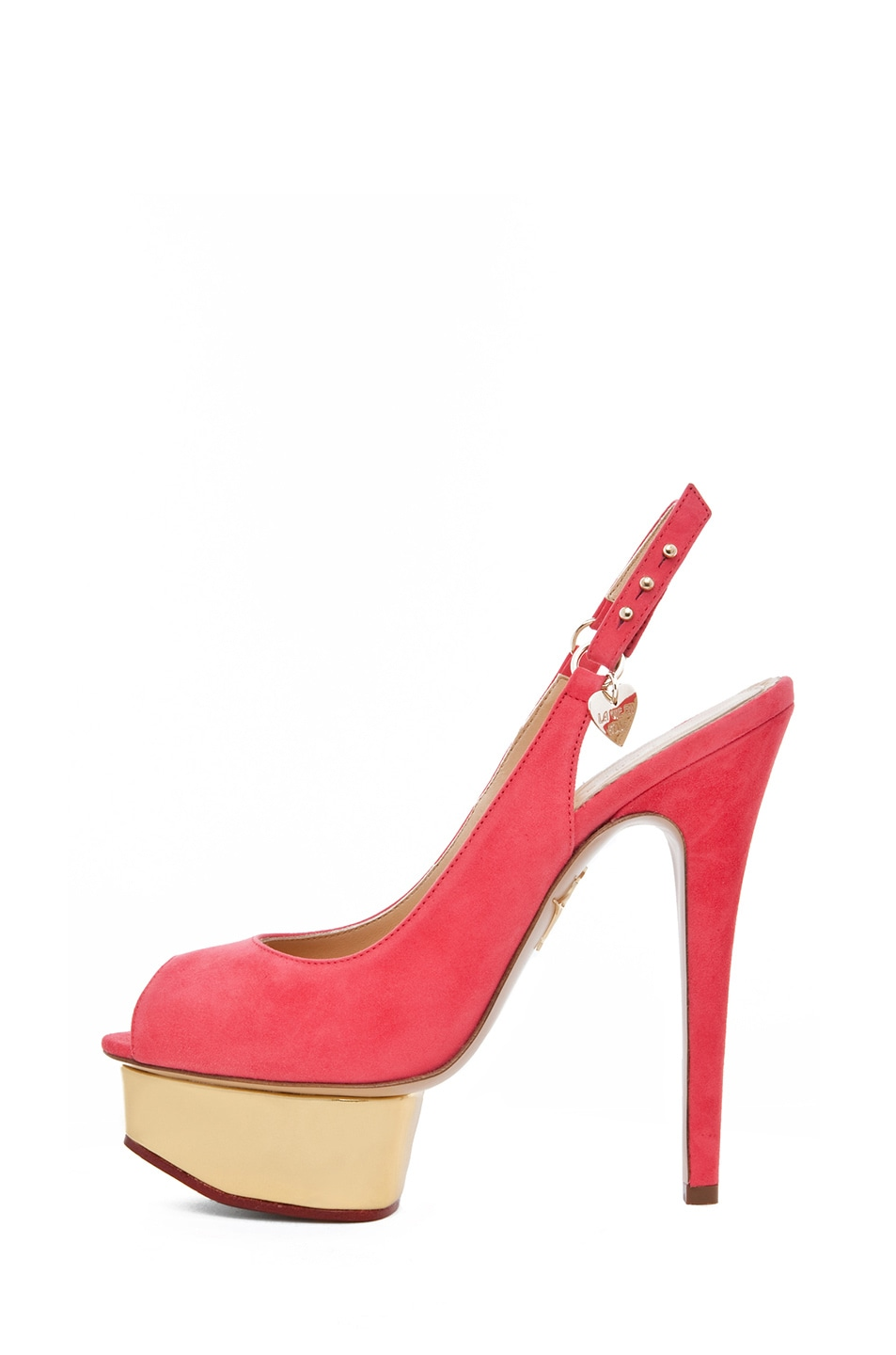 Image 1 of Charlotte Olympia Bon Bon Sling Back Heel in Watermelon