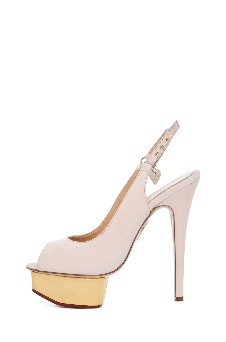 Image 1 of Charlotte Olympia Bon Bon Suede Sling Back Heels in Cipria