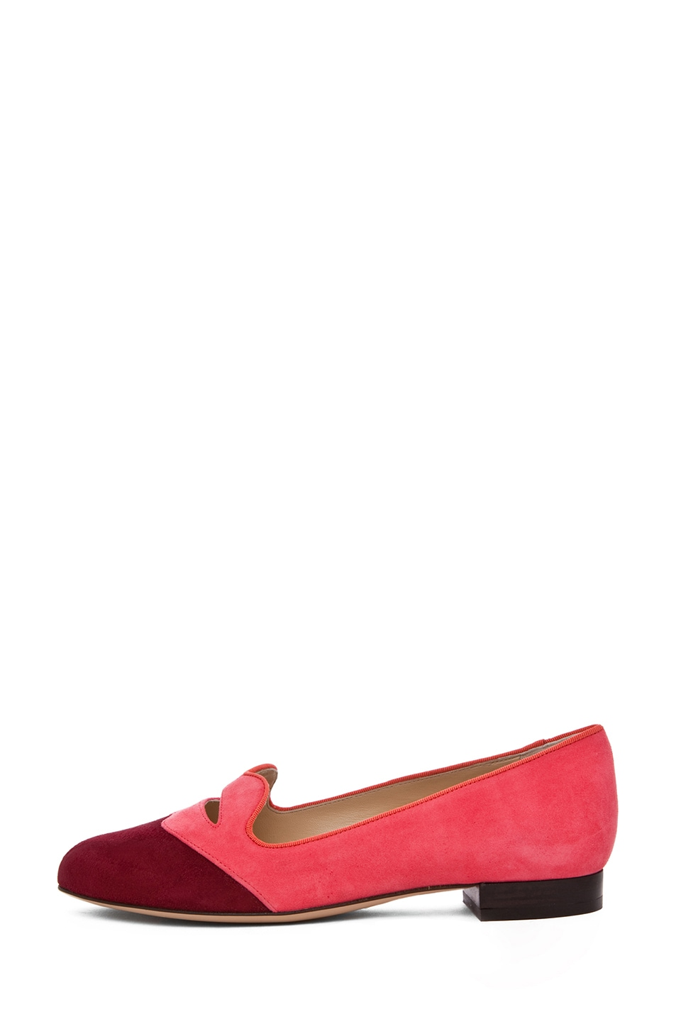 Image 1 of Charlotte Olympia Bisoux Suede Flats in Watermelon & Burgundy