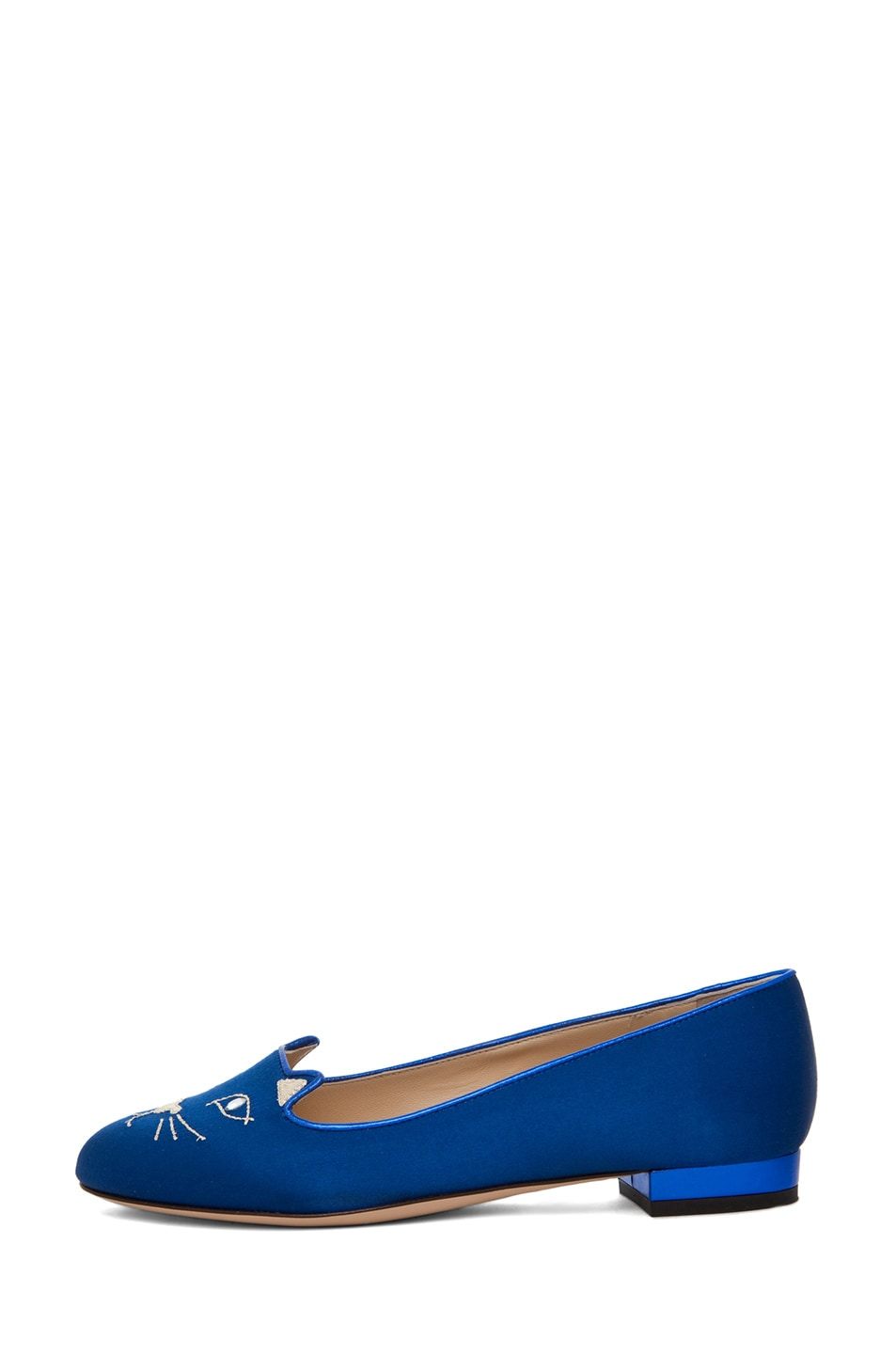 Image 1 of Charlotte Olympia Satin Kitty Flats in Blue & Gold
