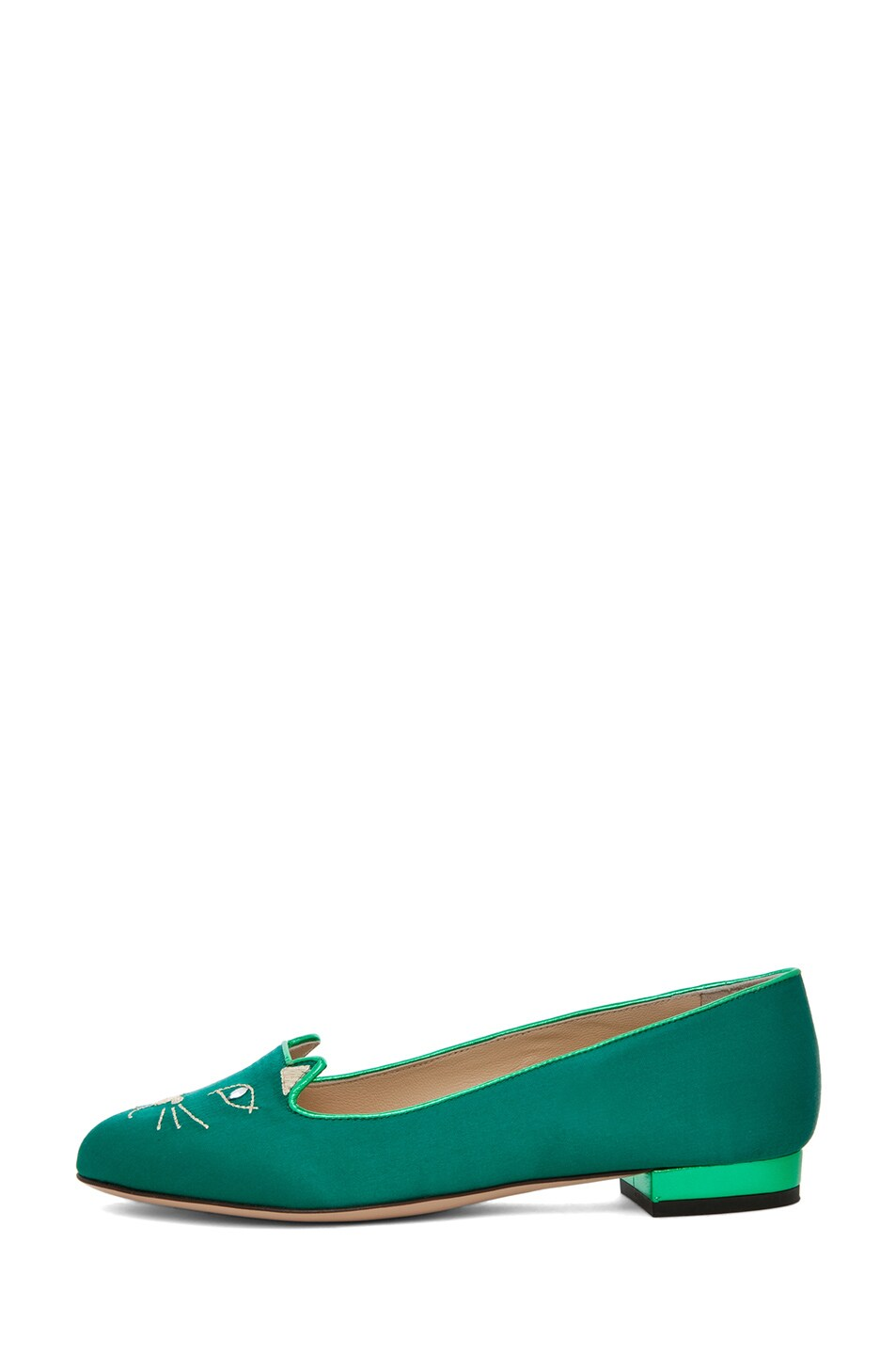 Image 1 of Charlotte Olympia Satin Kitty Flats in Green & Gold
