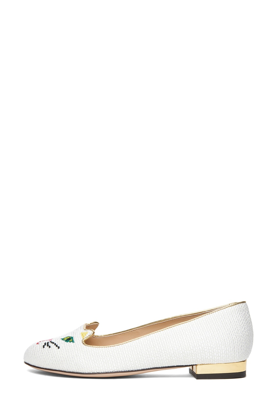 Image 1 of Charlotte Olympia Embroidered Cotton Kitty Flat in Off White