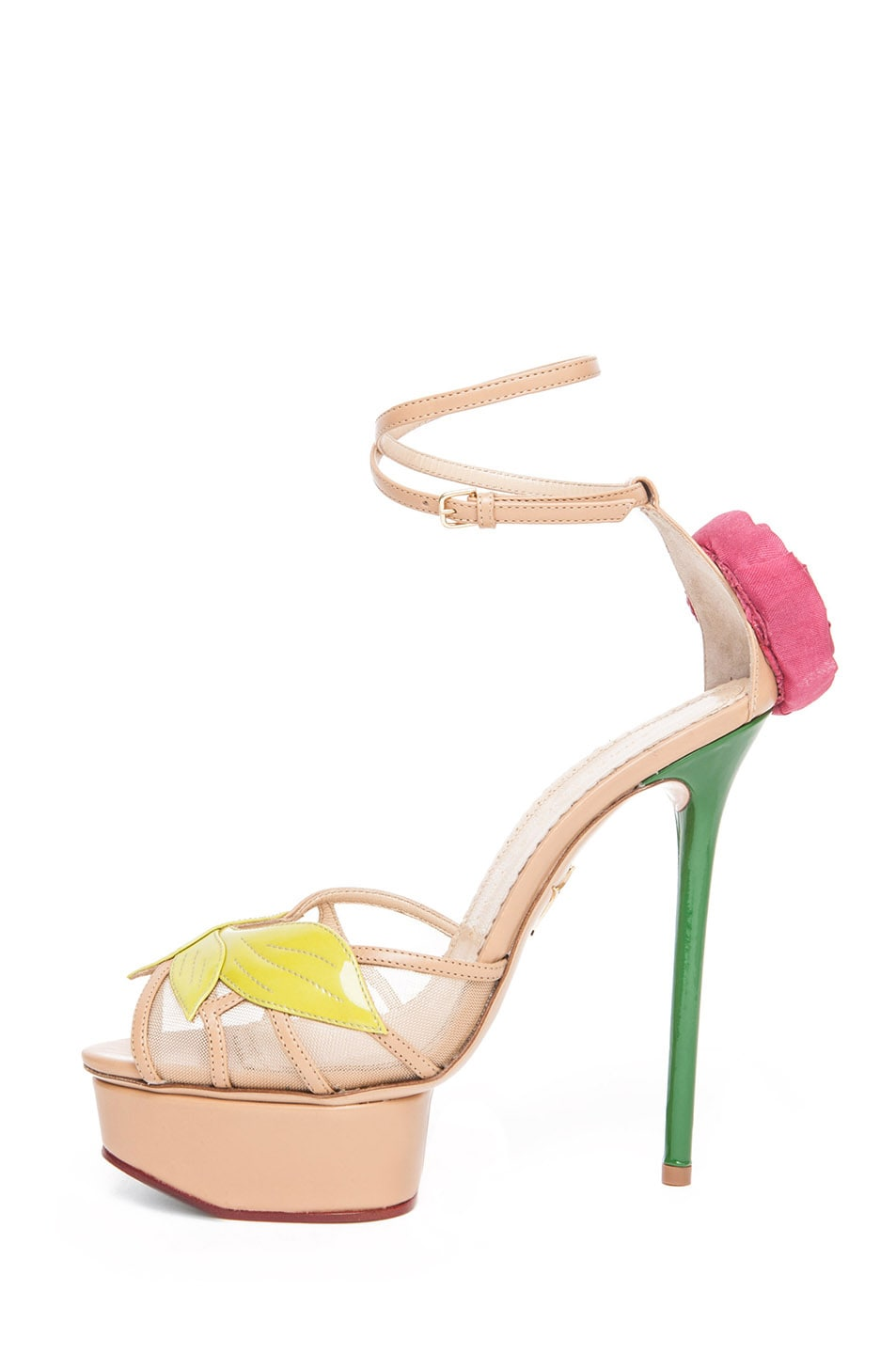 Image 1 of Charlotte Olympia Rose Leather Sandal with Rose and Leaf in Chartreuse & Nude