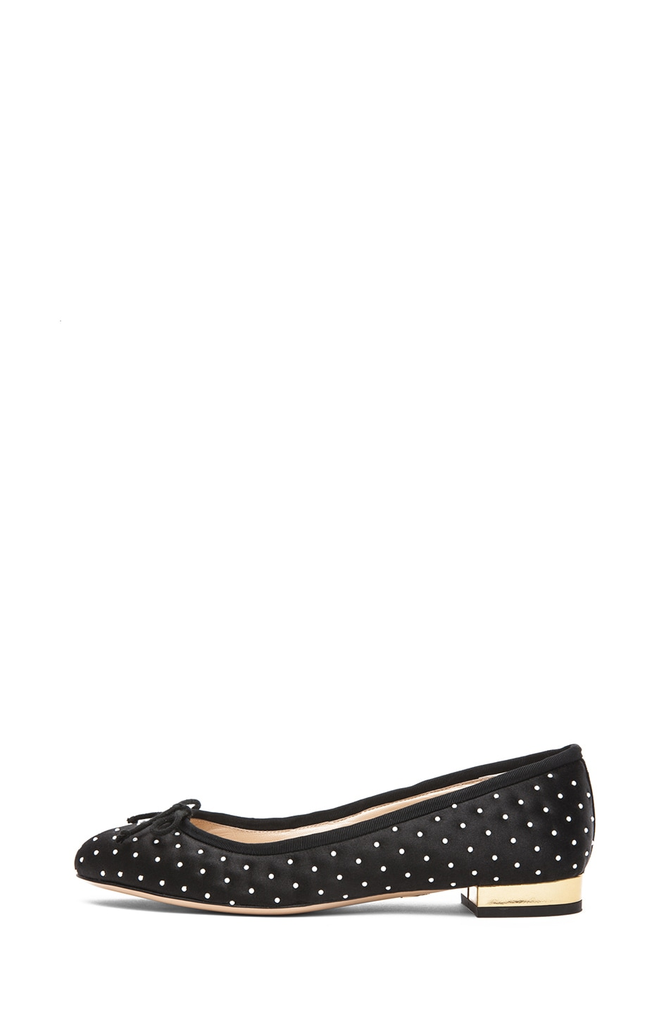 Image 1 of Charlotte Olympia Darcy Quilted Satin Flats with Pearls in Black