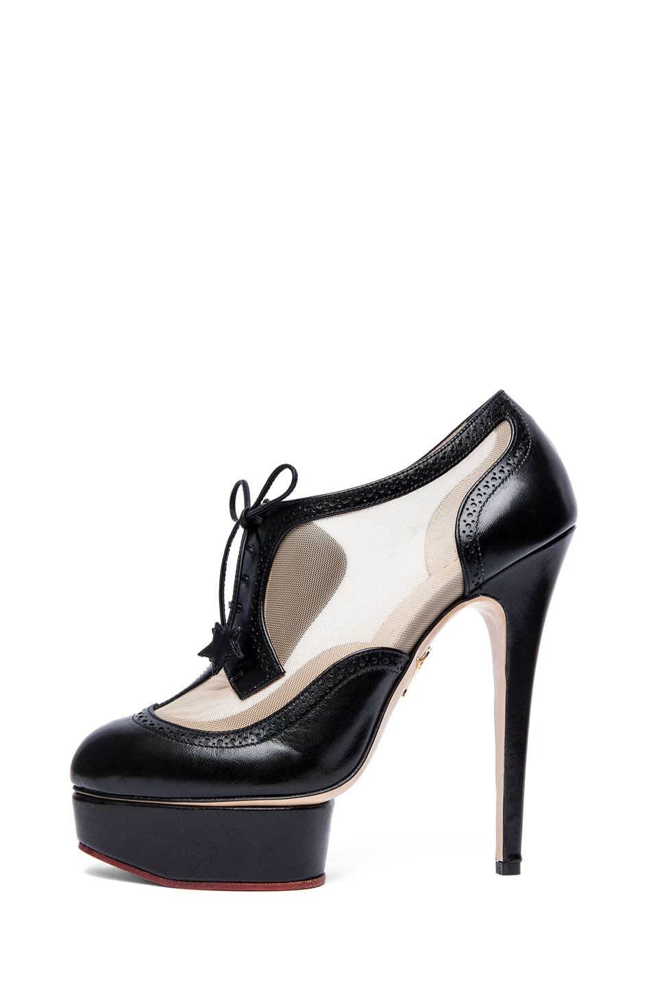 Image 1 of Charlotte Olympia Astaire Broque Leather Booties in Black