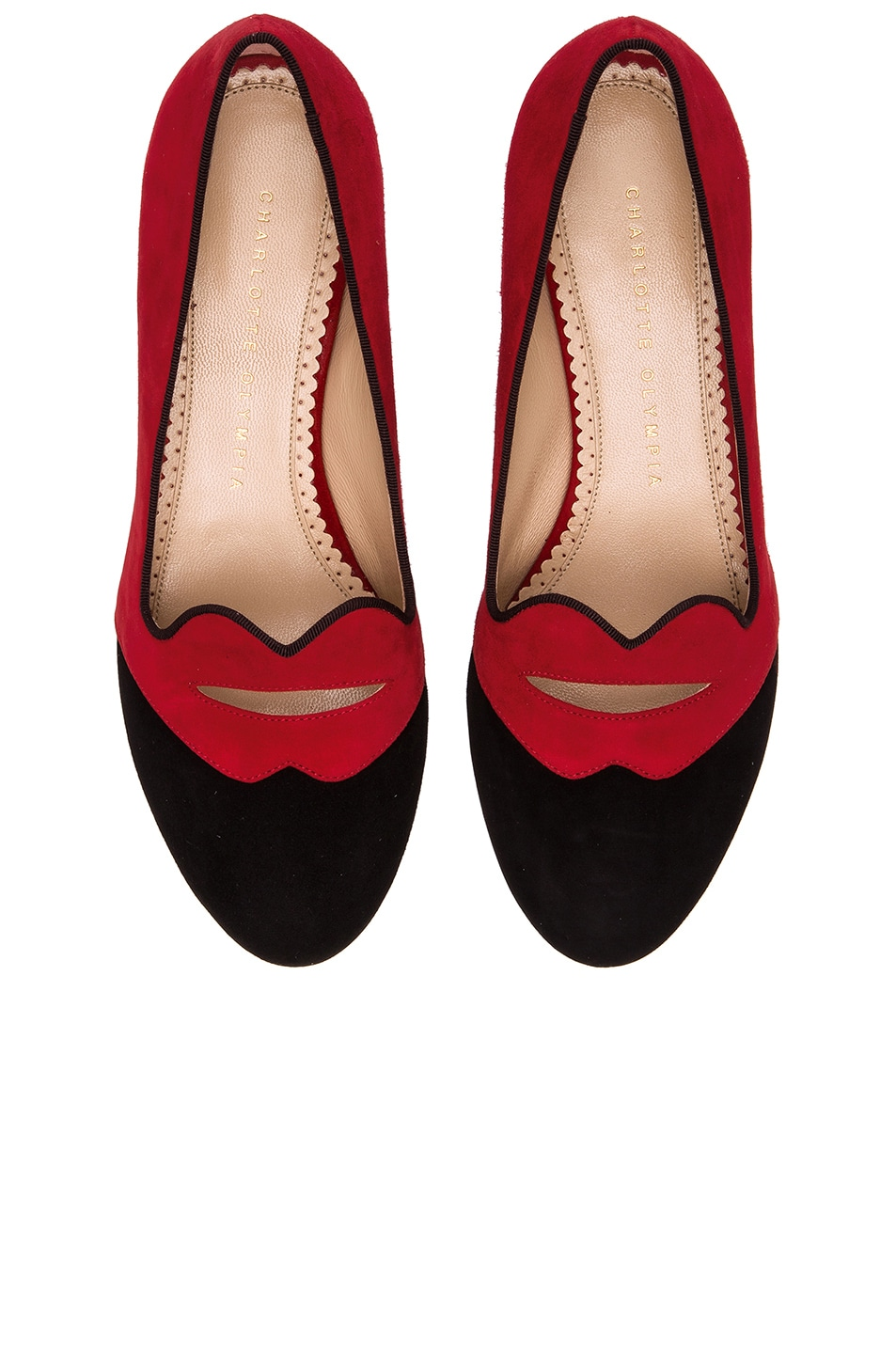 Image 1 of Charlotte Olympia Bisoux Suede Flats in Red & Black
