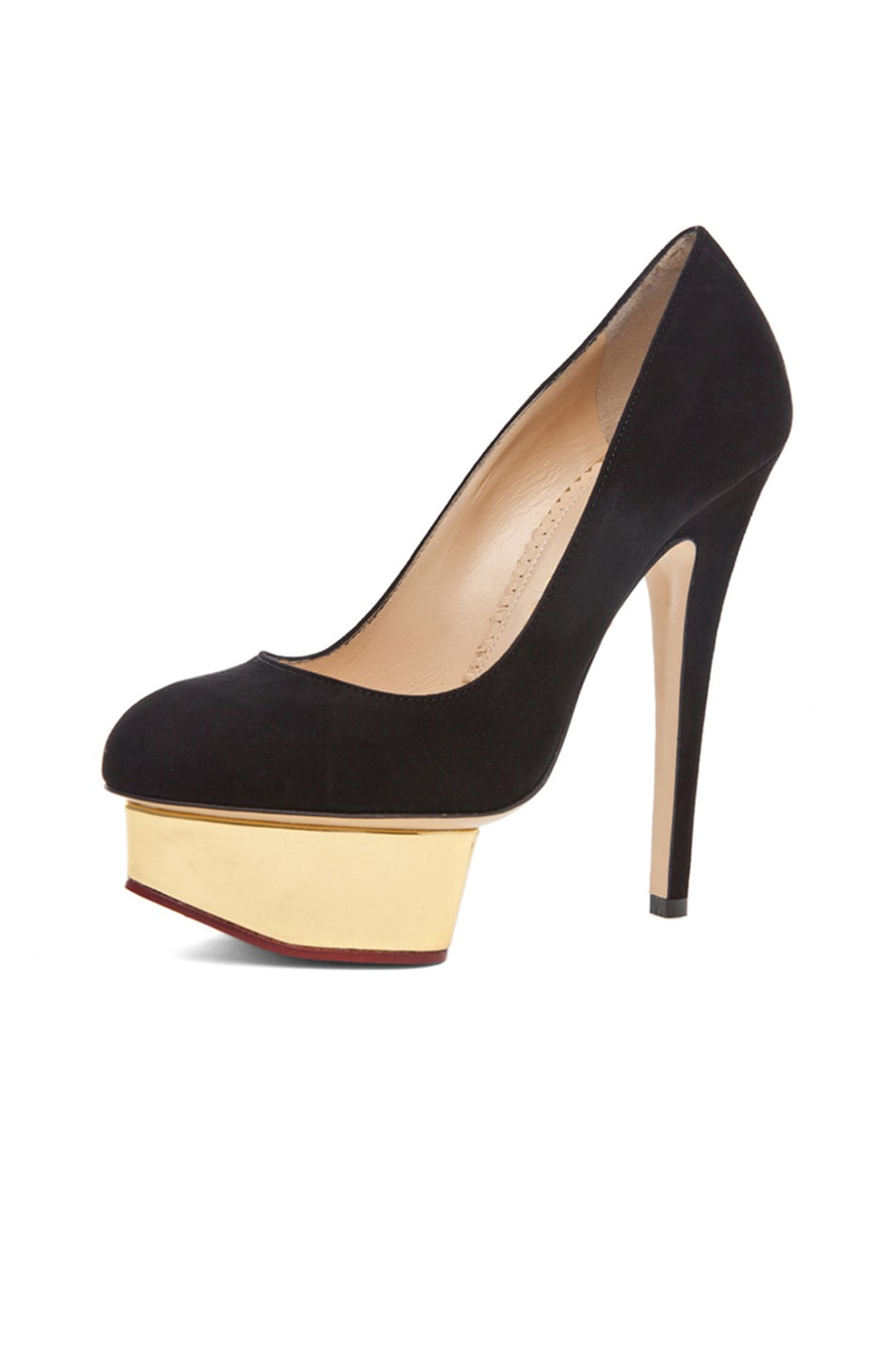 Image 2 of Charlotte Olympia Dolly Signature Court Island Suede Pumps in Black