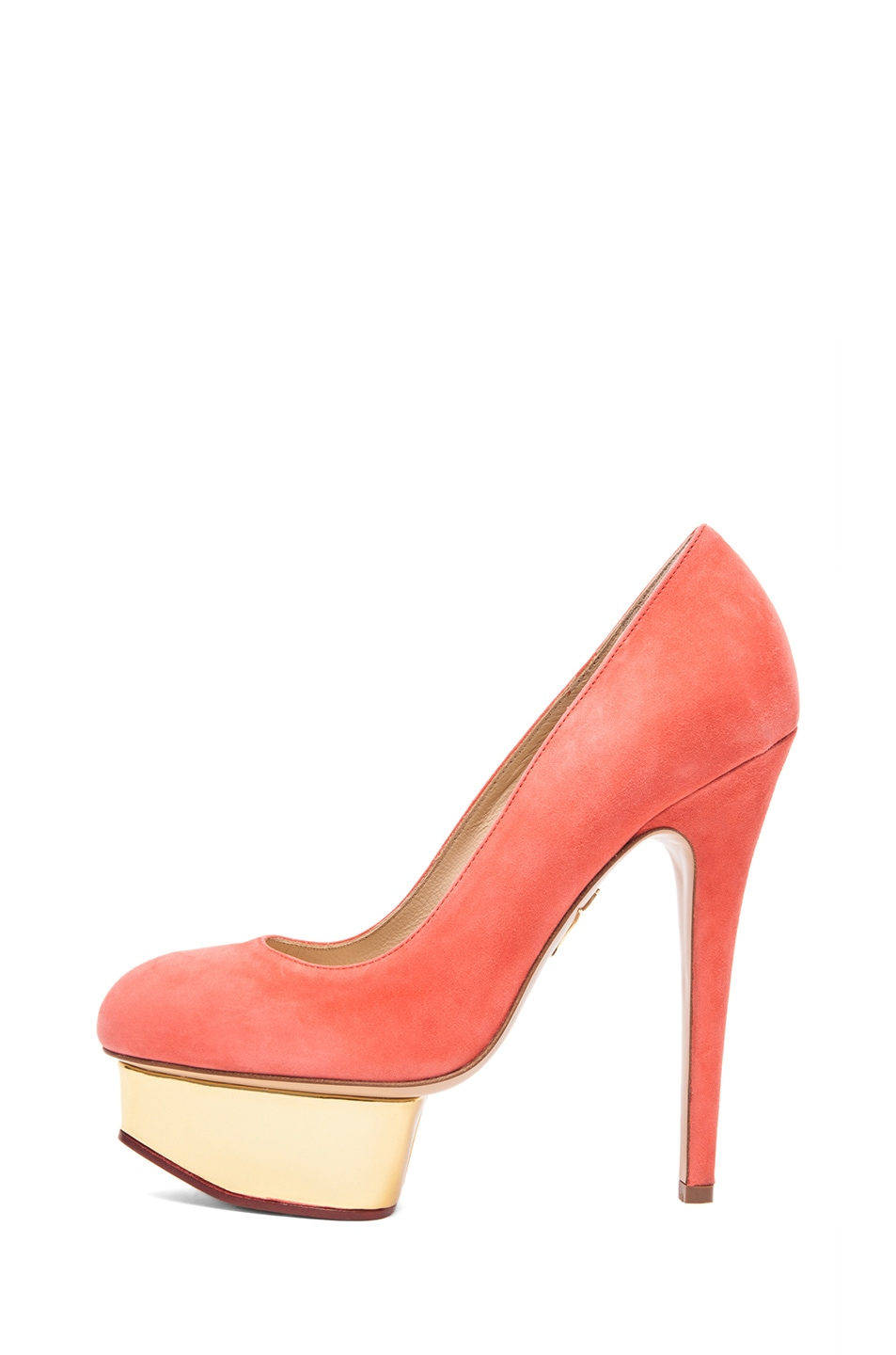 Image 1 of Charlotte Olympia Dolly Puttin On The Glitz Suede Pump in Coral
