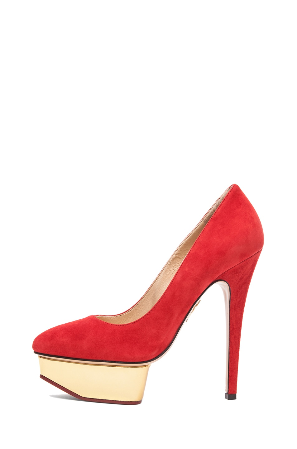Image 1 of Charlotte Olympia Cindy Suede Pumps in Red