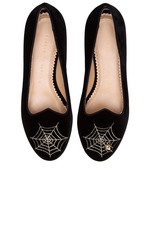 Image 1 of Charlotte Olympia Charlotte's Web Velvet Flats in Black & Gold