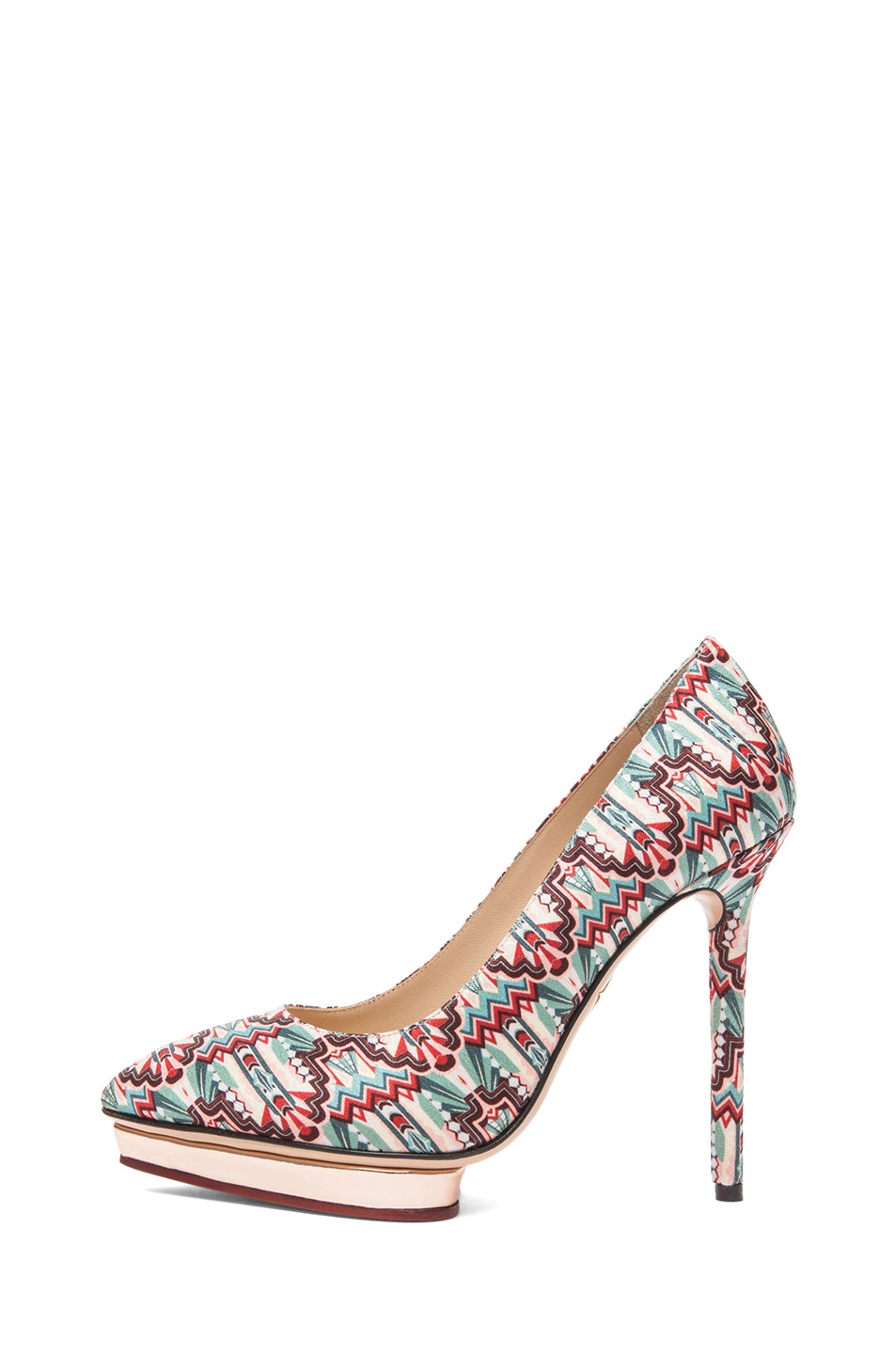 Image 1 of Charlotte Olympia Debonaire Crepe Stain Deco Print Pumps in Multi
