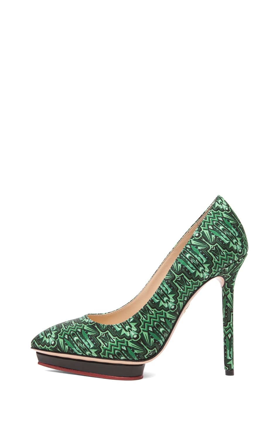 Image 1 of Charlotte Olympia Debonaire Crepe Stain Deco Print Pumps in Emerald