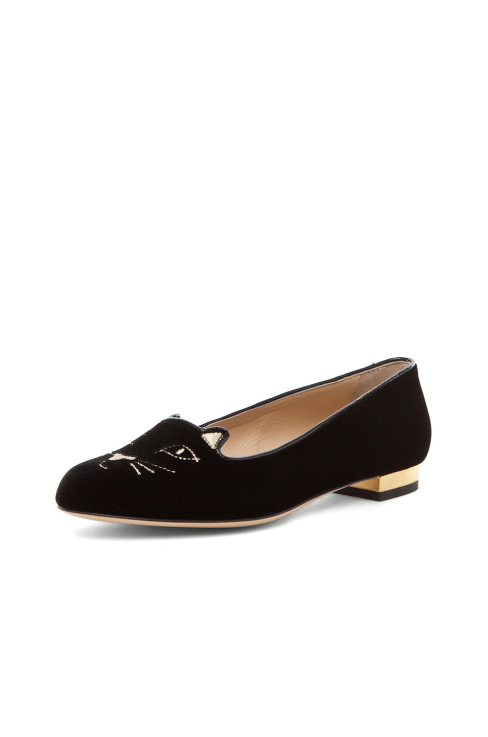 Image 2 of Charlotte Olympia Kitty Velvet Flats in Black
