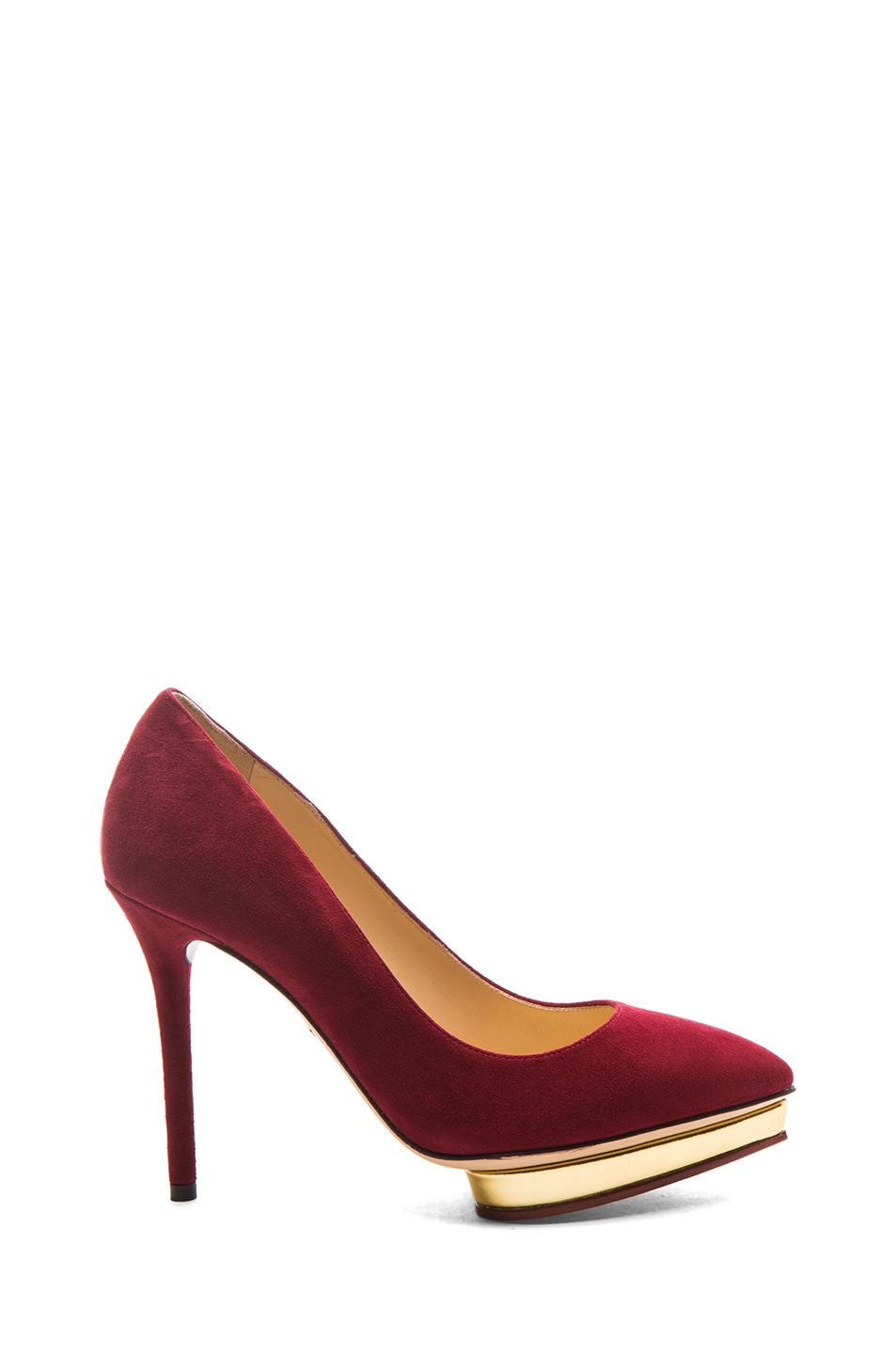 Image 1 of Charlotte Olympia Debbie Suede Pumps in Burgundy