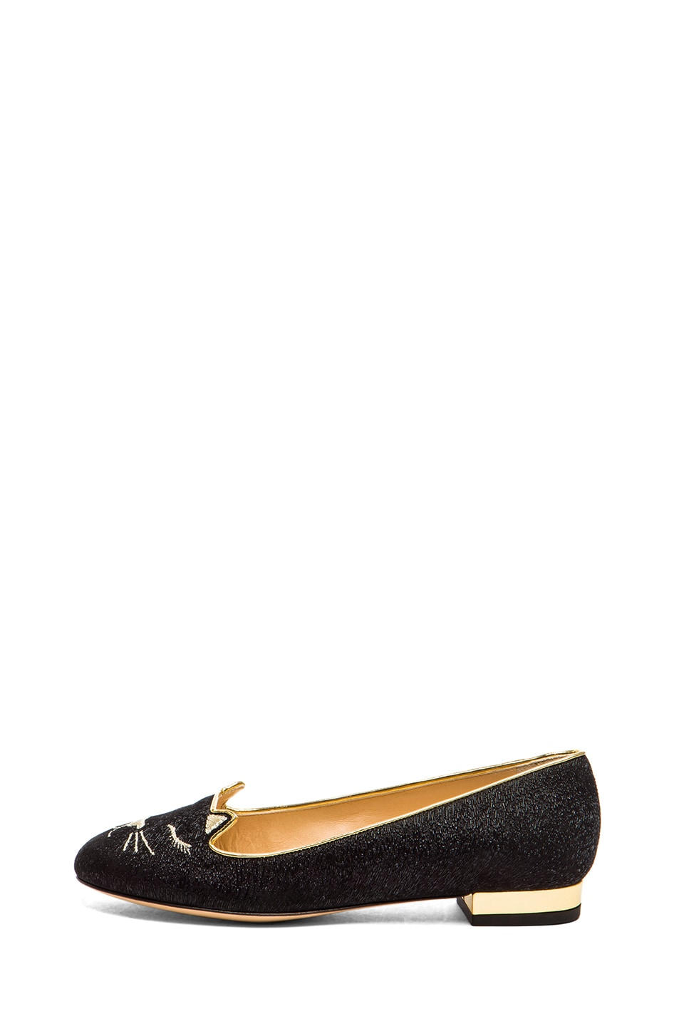 Image 1 of Charlotte Olympia Sleeping Kitty Textured Suede Flats in Black