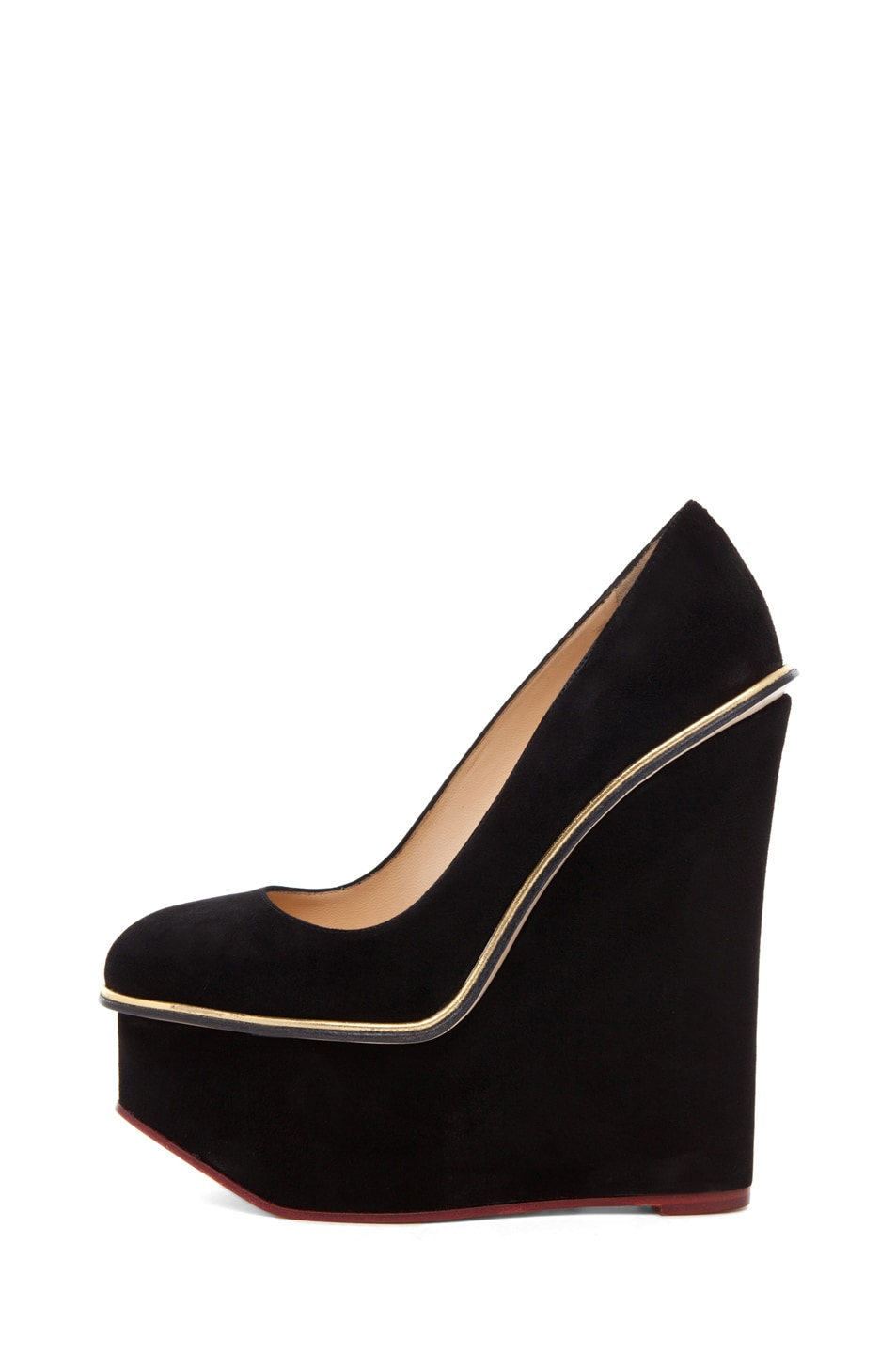 Image 1 of Charlotte Olympia Carmen Suede Super Wedge in Black