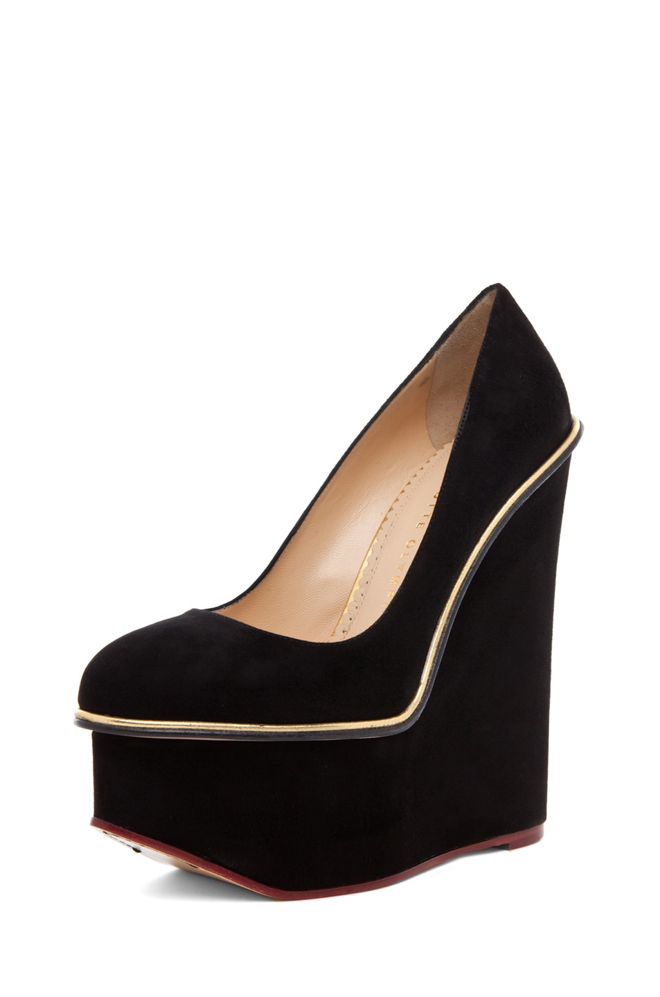 Image 2 of Charlotte Olympia Carmen Suede Super Wedge in Black