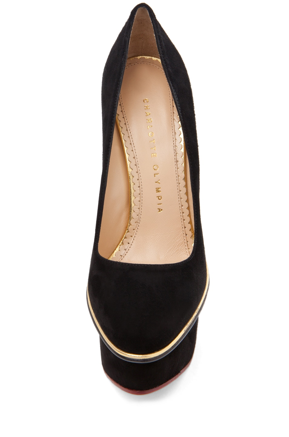 Image 4 of Charlotte Olympia Carmen Suede Super Wedge in Black