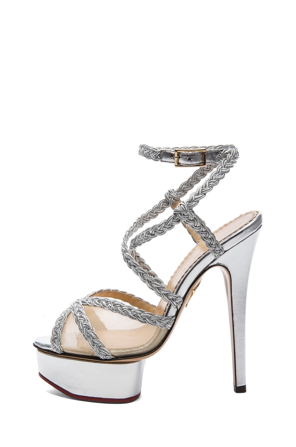 Image 1 of Charlotte Olympia Isadora Metallic Nappa Leather Heel in Silver