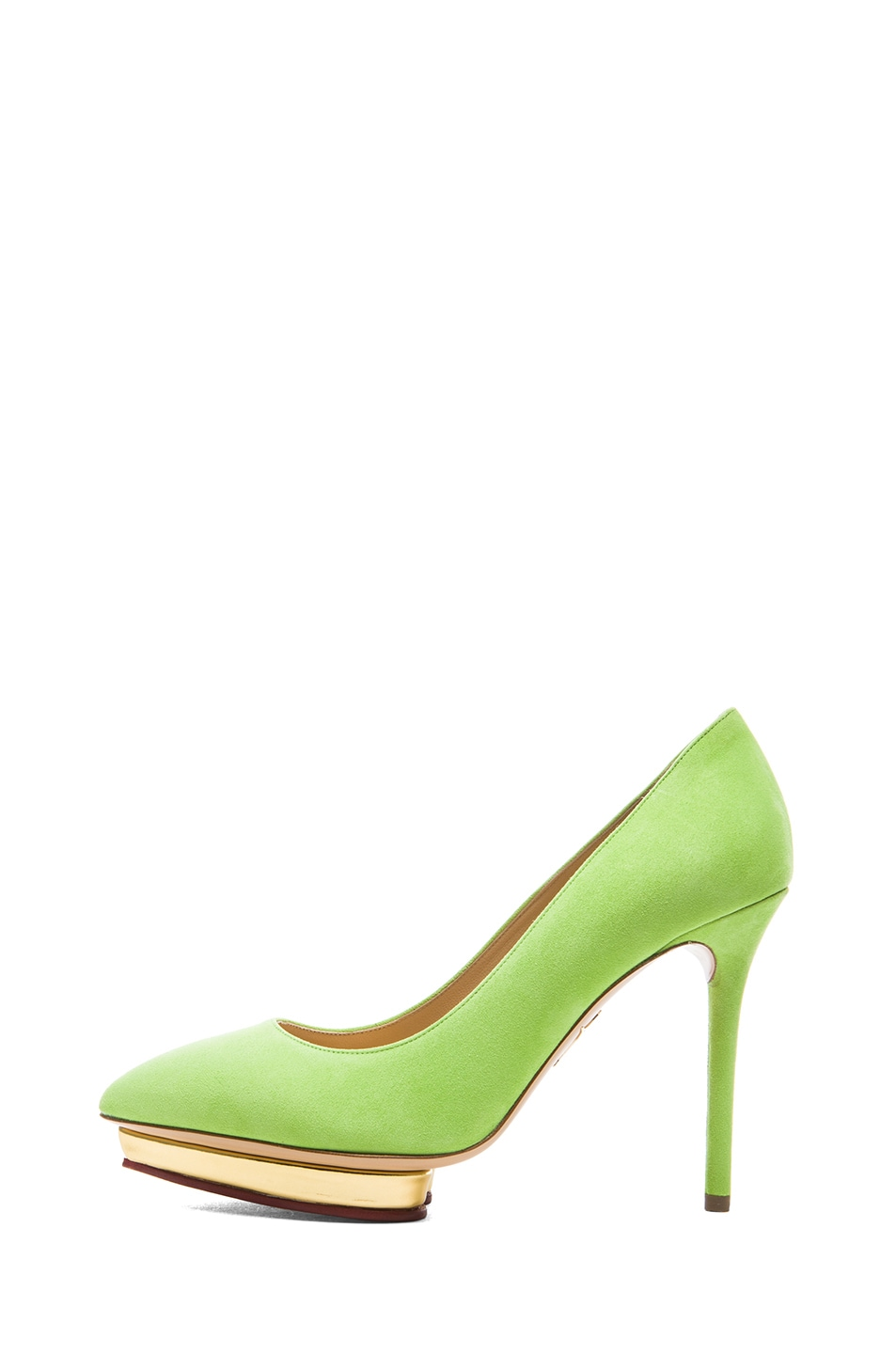 Image 1 of Charlotte Olympia Debbie Suede Pumps in Sour Apple