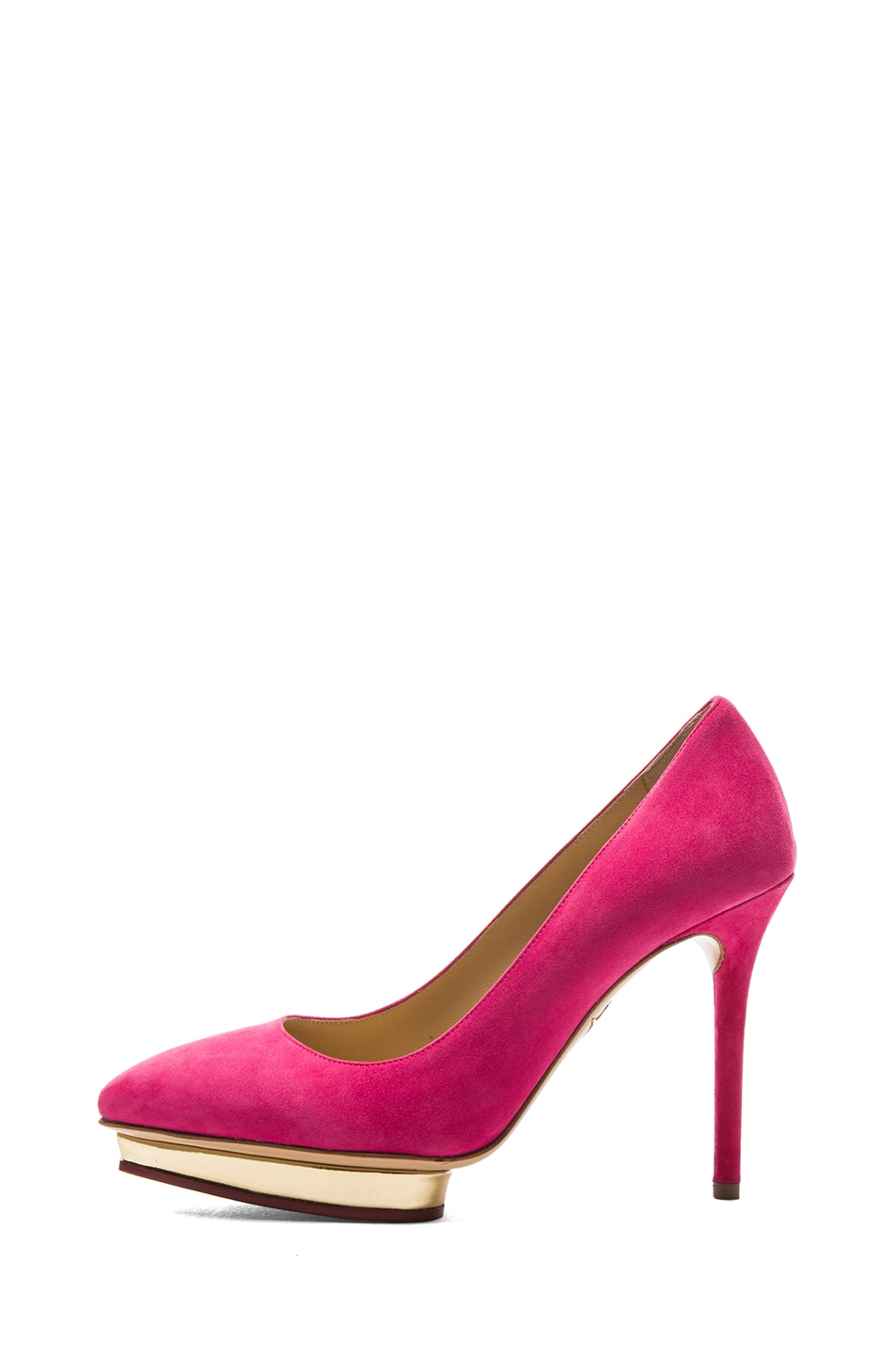Image 1 of Charlotte Olympia Debbie Suede Pumps in Bubblegum