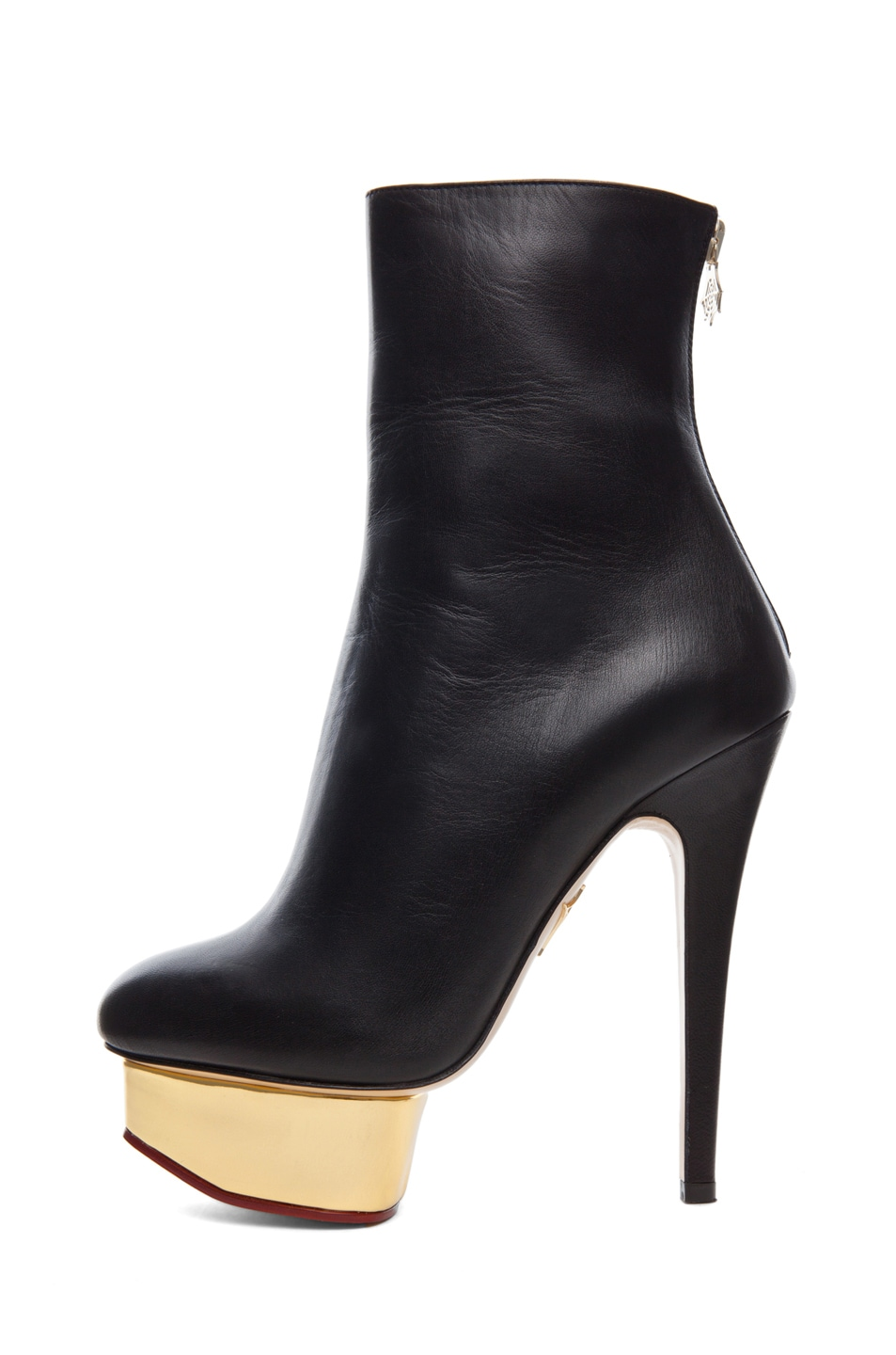 Image 1 of Charlotte Olympia Lucinda Signature Island Nappa Leather Booties in Black