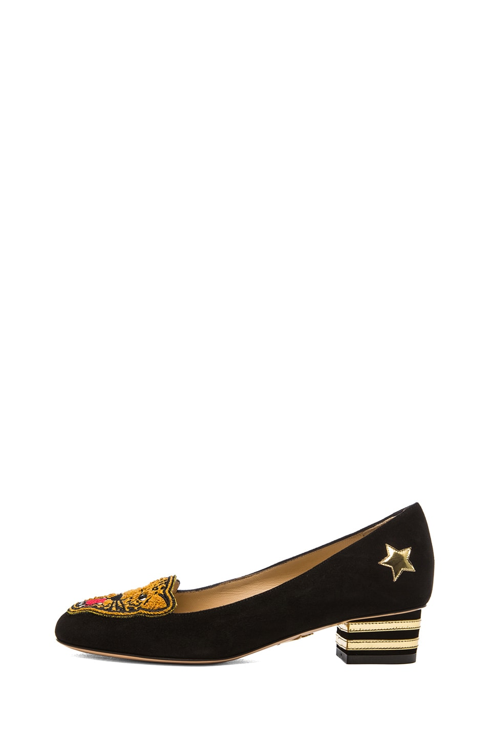 Image 1 of Charlotte Olympia Mascot Suede Heeled Flats in Black
