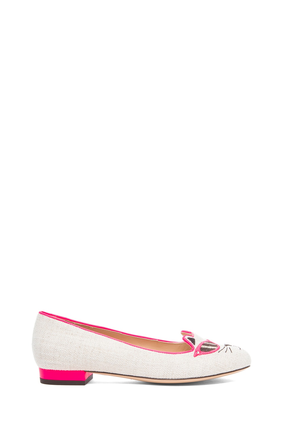 Image 1 of Charlotte Olympia Sunkissed Kitty Flats in Fluorescent Pink