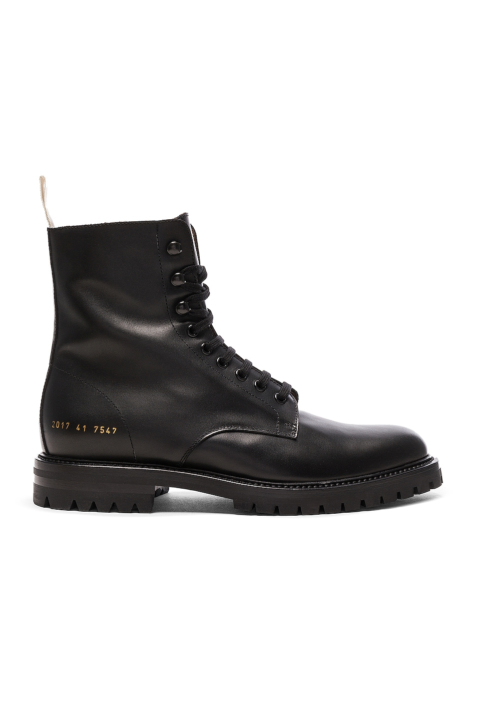 Image 1 of Common Projects Leather Winter Combat Boots in Black