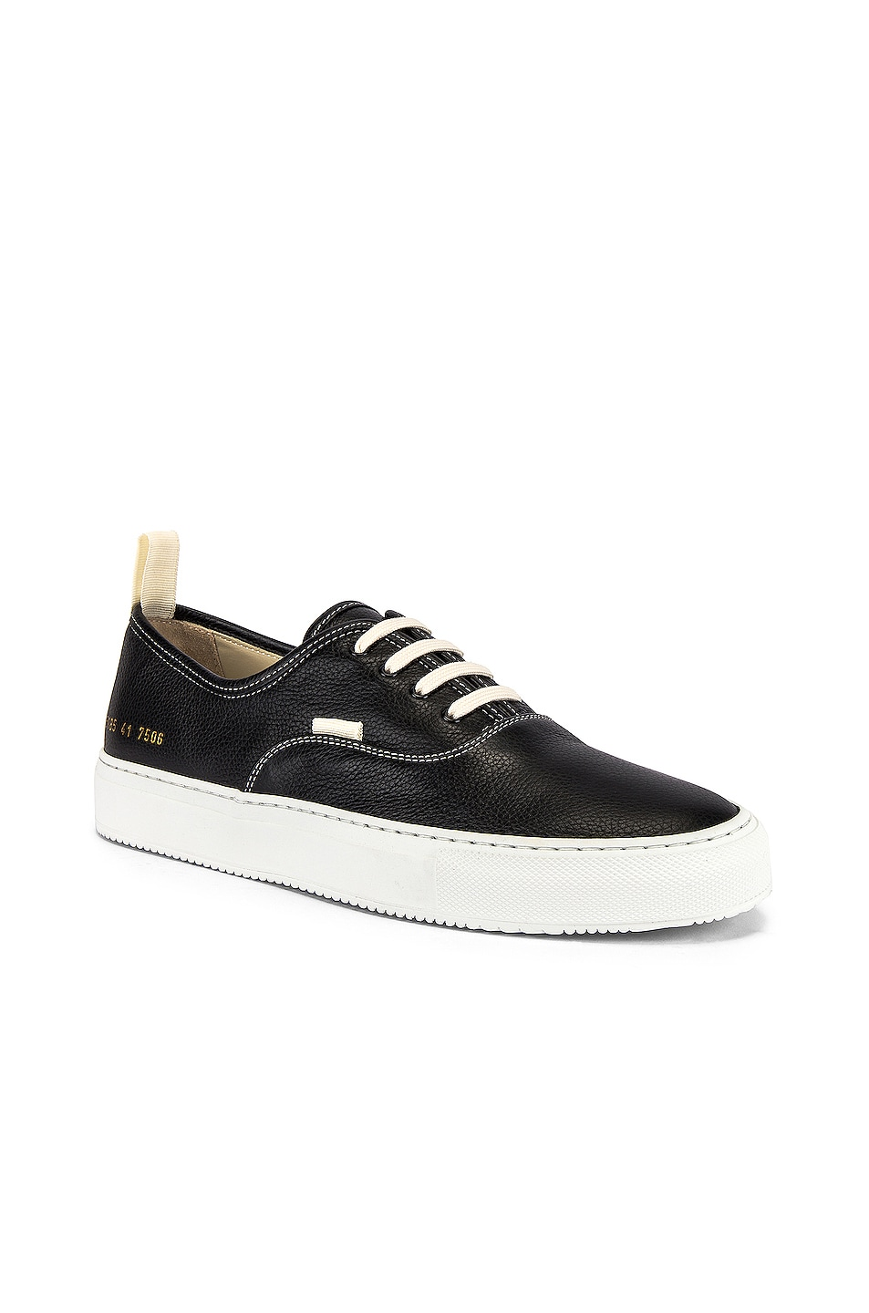 Image 1 of Common Projects Four Hole in Leather Low Sneaker in Black & White