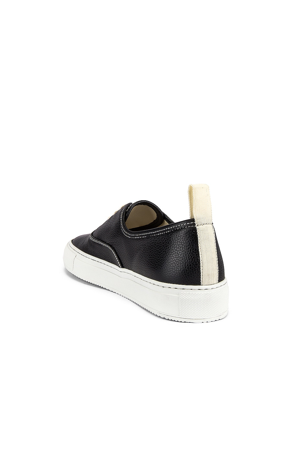 Image 3 of Common Projects Four Hole in Leather Low Sneaker in Black & White