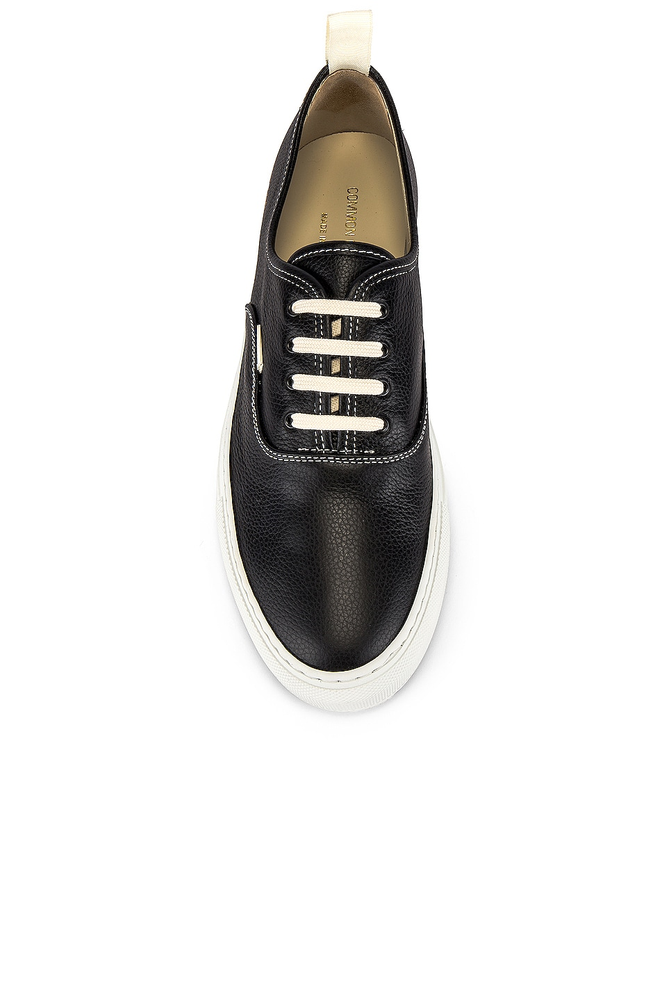 Image 4 of Common Projects Four Hole in Leather Low Sneaker in Black & White