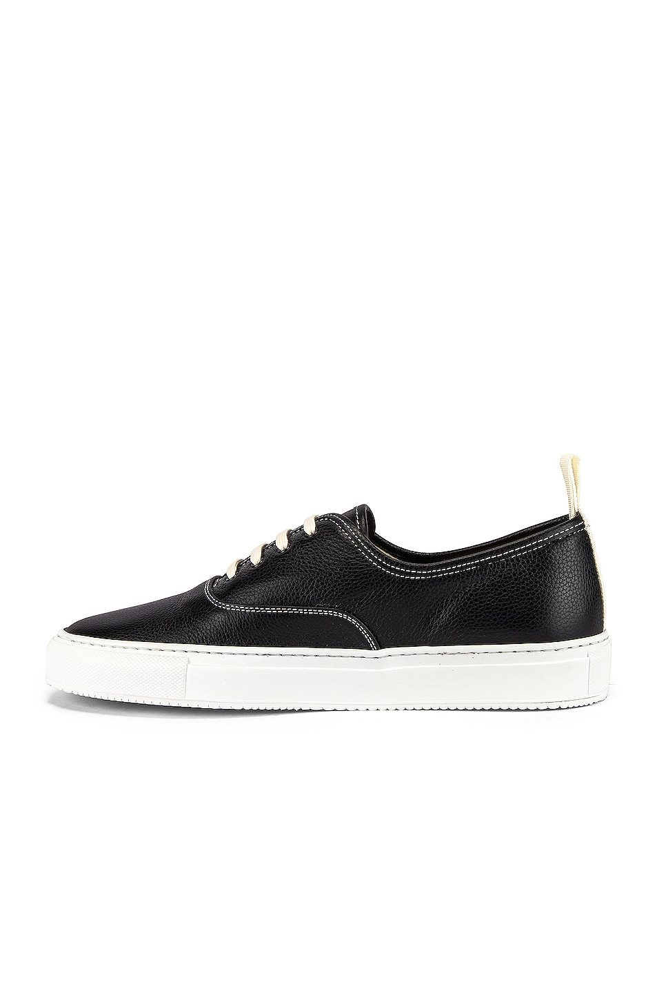 Image 5 of Common Projects Four Hole in Leather Low Sneaker in Black & White