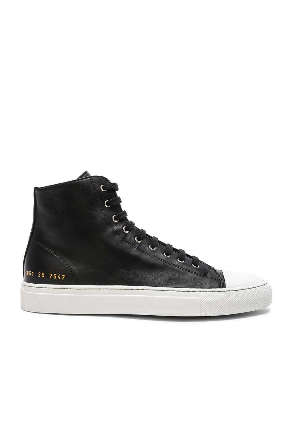 Leather High Tournament Cap Toe Sneakers in Black Common Projects rWwMn