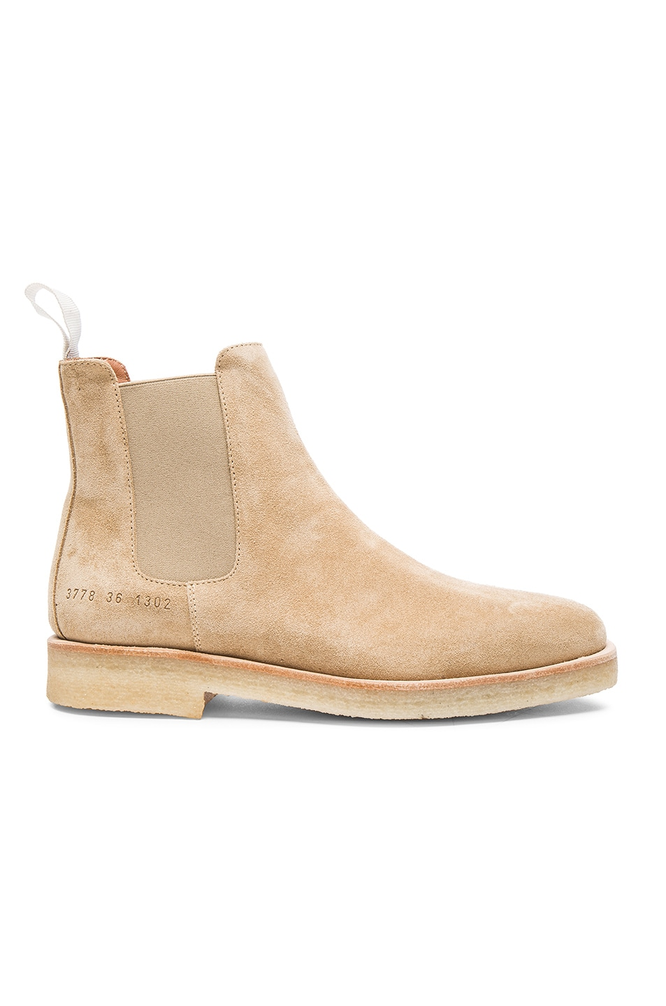 common projects suede chelsea boots in sand fwrd