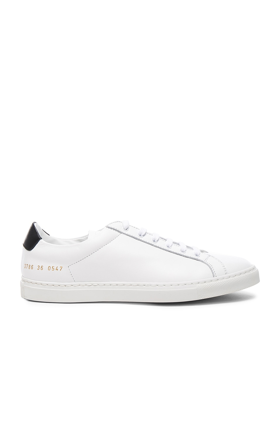 Image 1 of Common Projects Leather Achilles Retro Low in White & Black