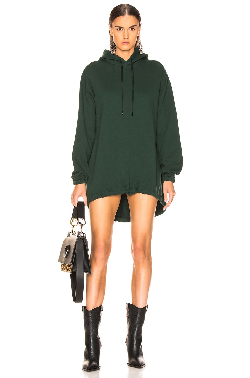 Image 1 of COTTON CITIZEN Milan Hoodie Dress in Battle Green