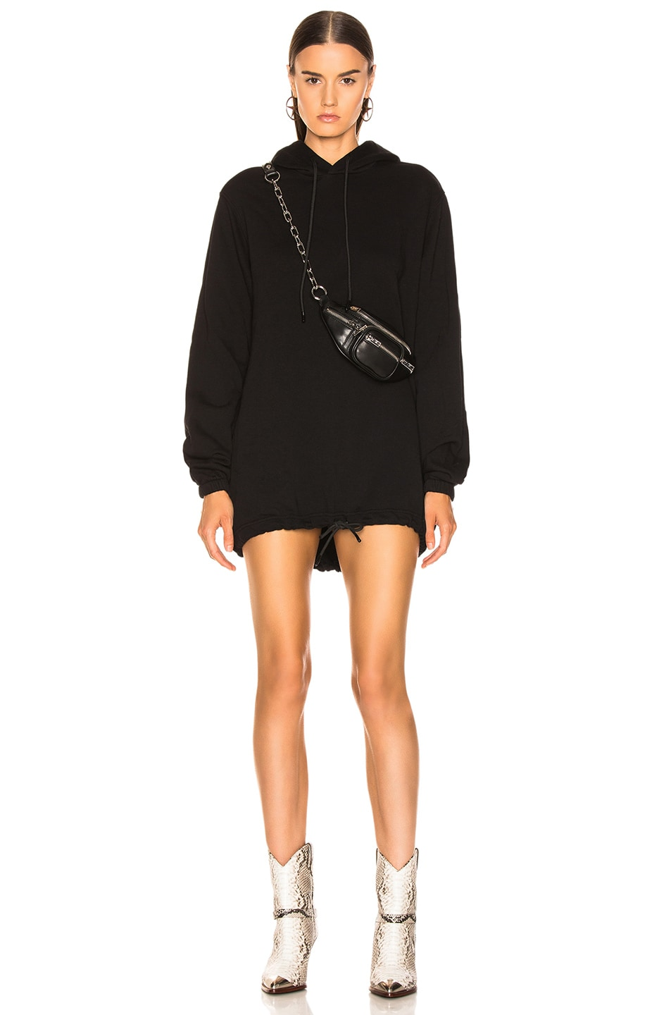 Image 1 of COTTON CITIZEN Milan Hoodie Dress in Jet Black