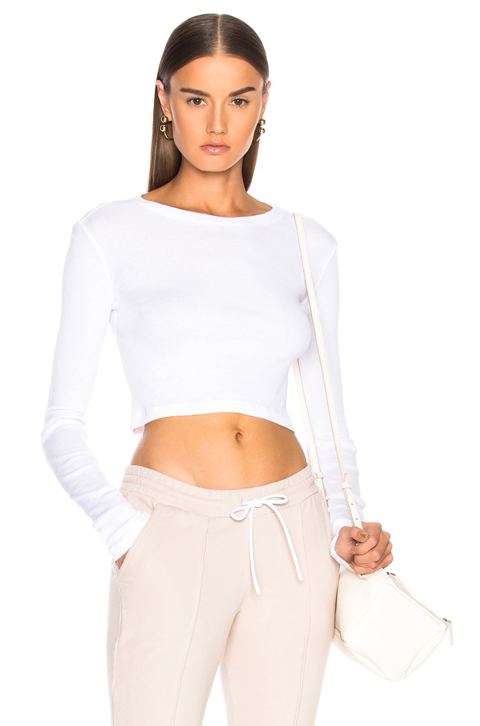 Image 1 of COTTON CITIZEN Venice Long Sleeve Crop Tee in White