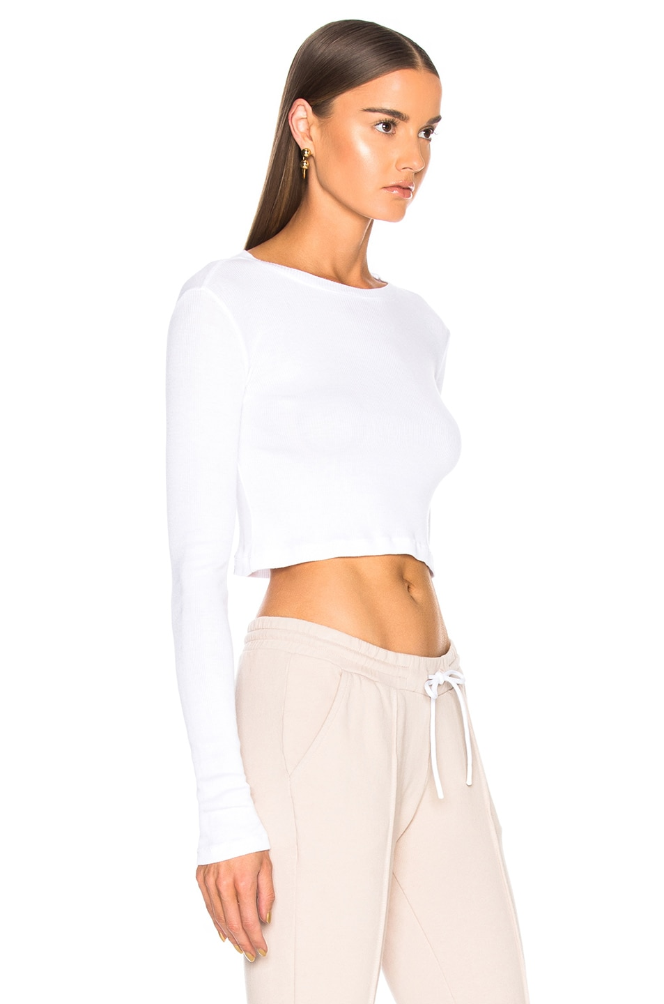Image 2 of COTTON CITIZEN Venice Long Sleeve Crop Tee in White