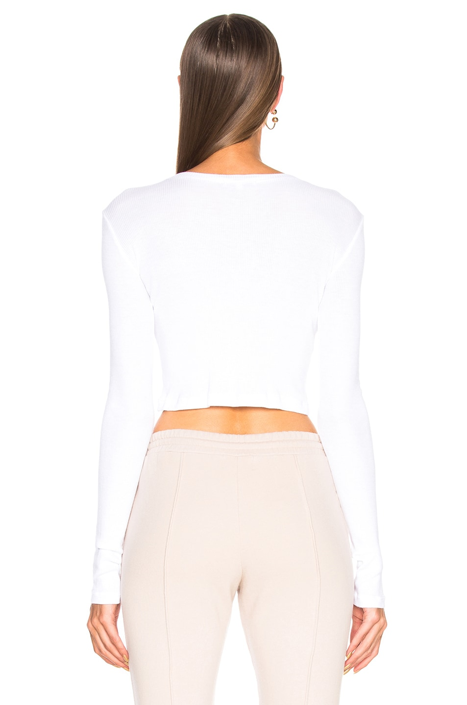 Image 3 of COTTON CITIZEN Venice Long Sleeve Crop Tee in White
