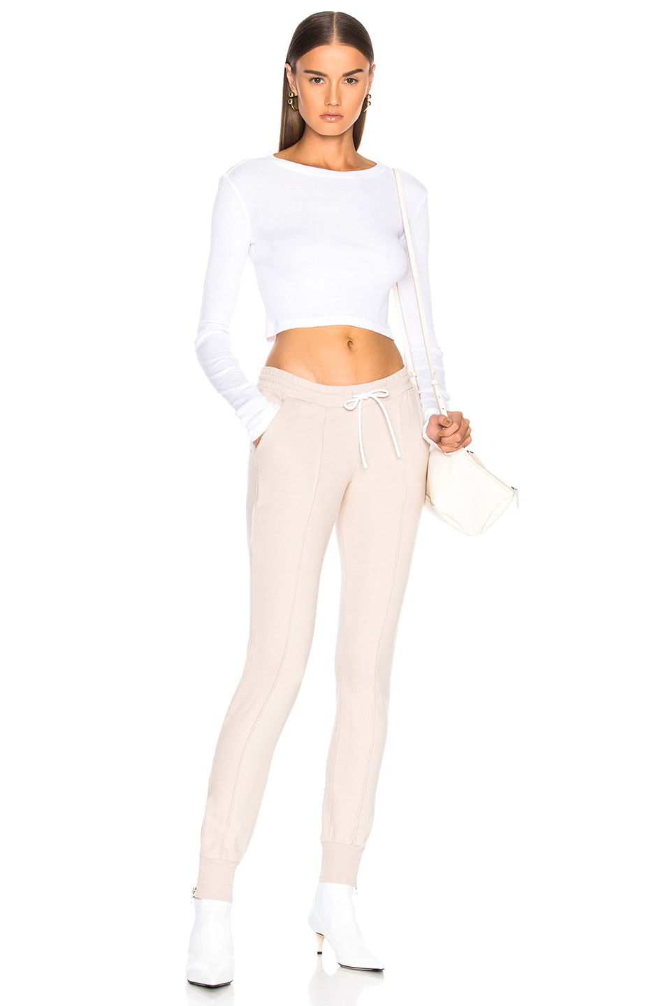 Image 4 of COTTON CITIZEN Venice Long Sleeve Crop Tee in White