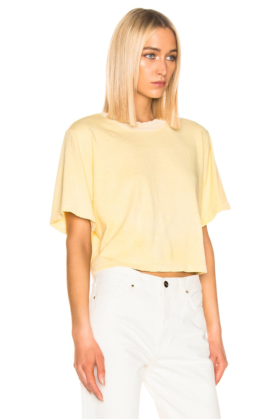 Image 2 of COTTON CITIZEN Tokyo Crop Tee in Daffodil