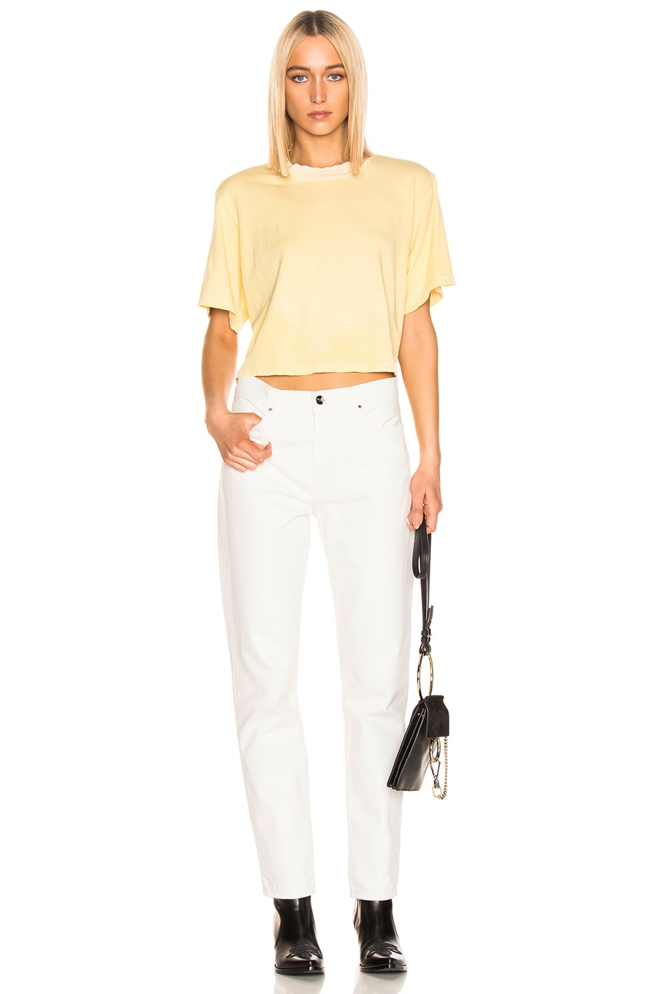 Image 4 of COTTON CITIZEN Tokyo Crop Tee in Daffodil
