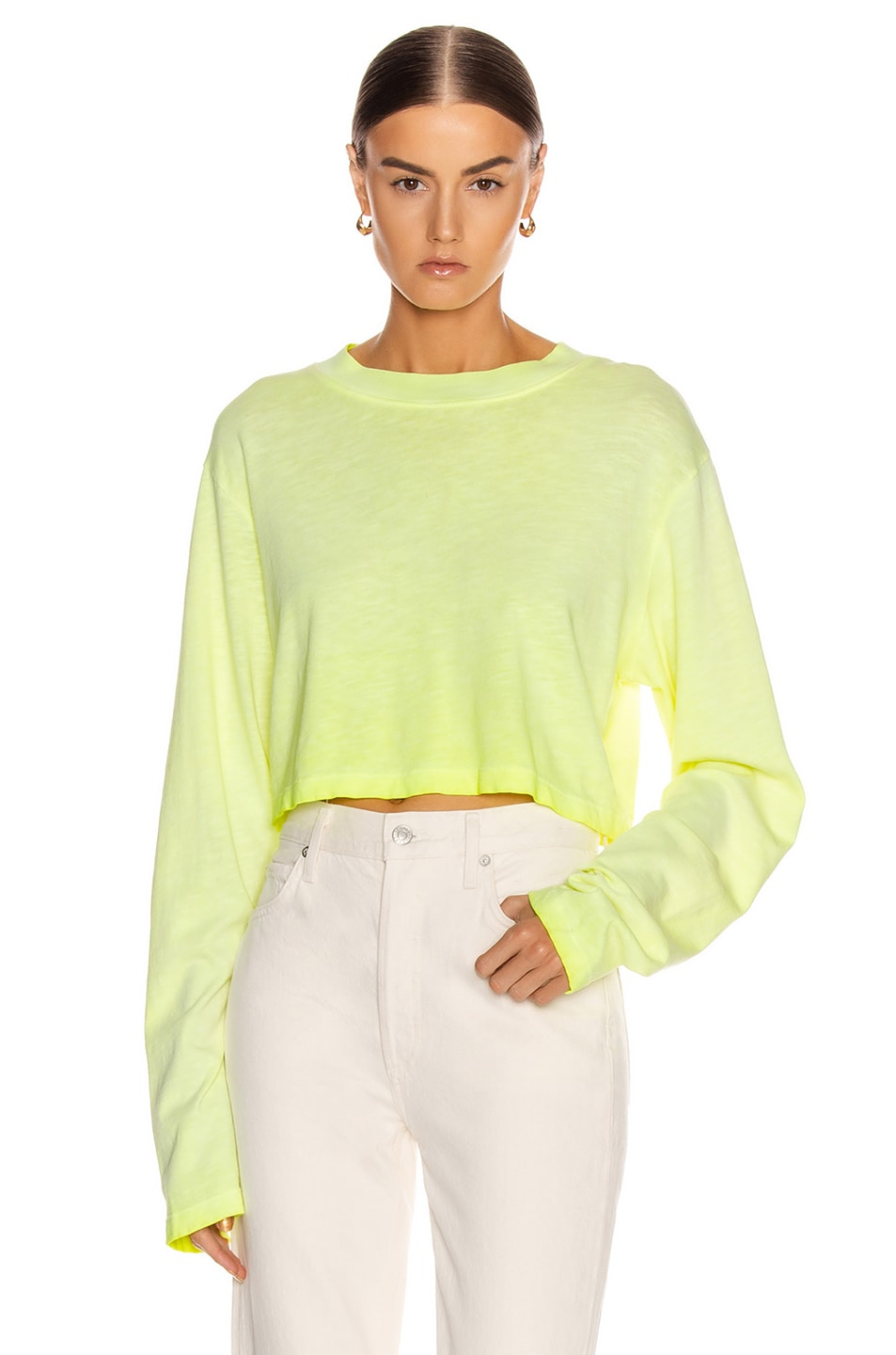 Image 1 of COTTON CITIZEN Tokyo Crop Long Sleeve Tee in Fluorescent Yellow