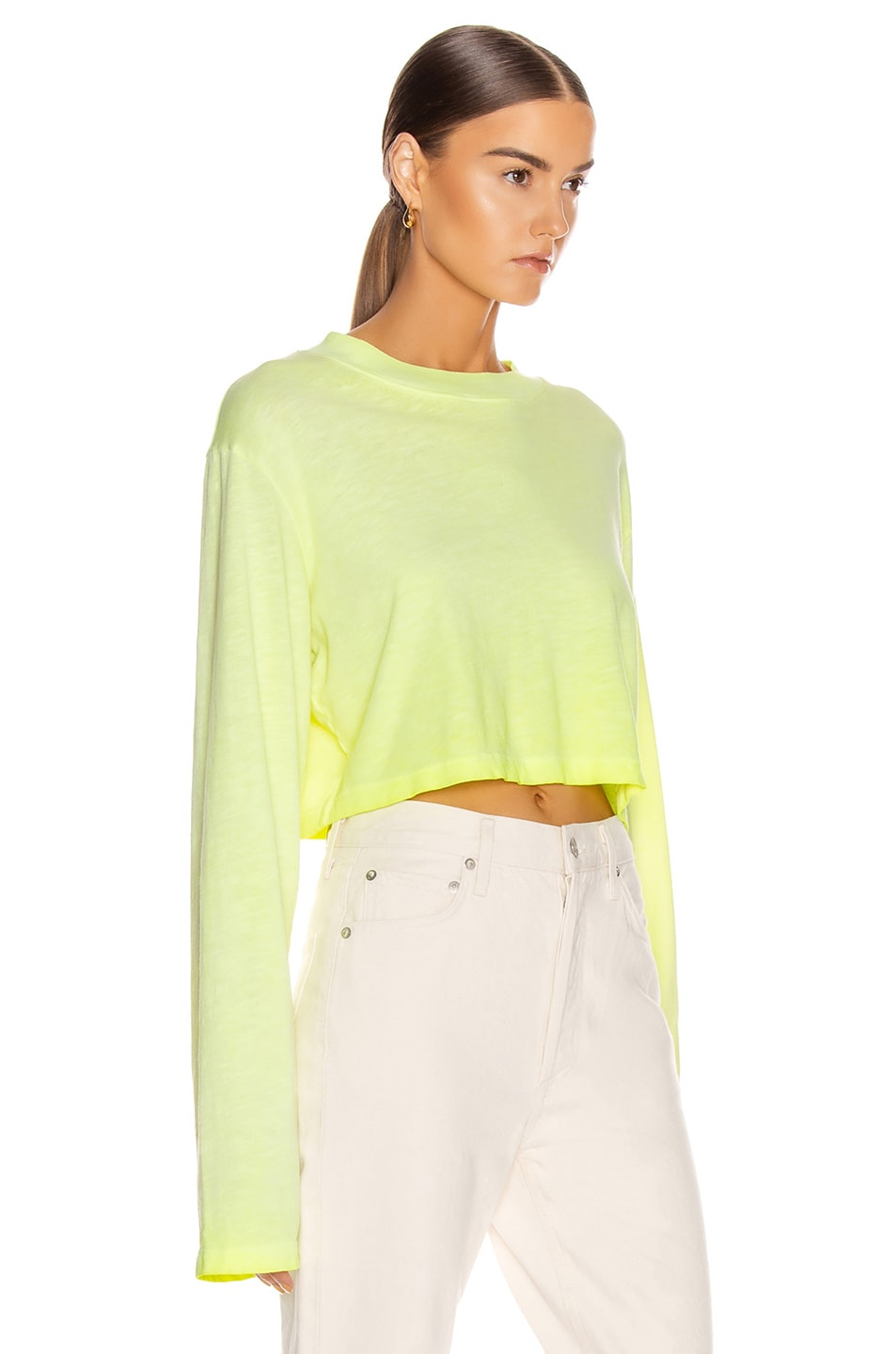 Image 2 of COTTON CITIZEN Tokyo Crop Long Sleeve Tee in Fluorescent Yellow