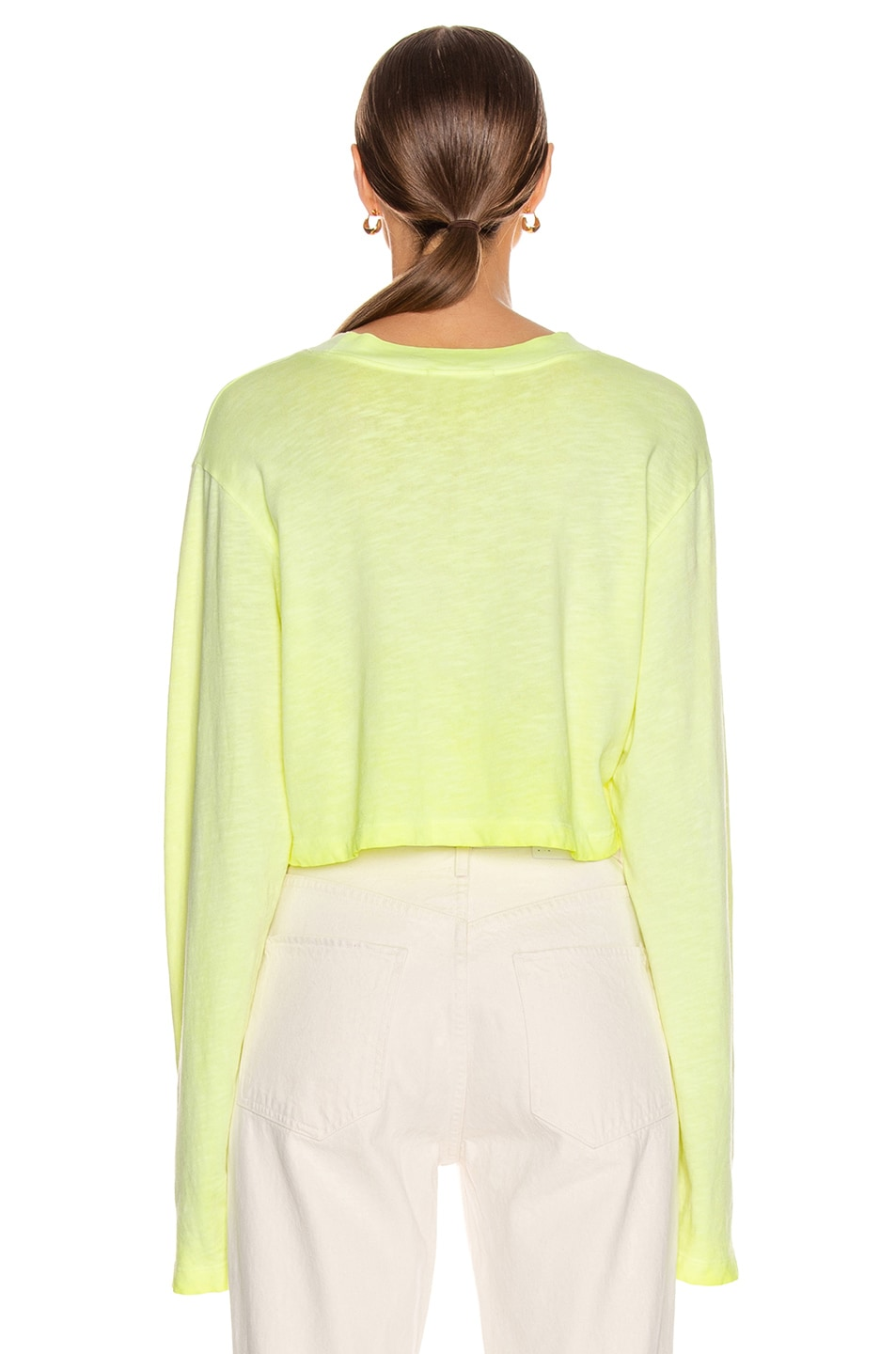 Image 3 of COTTON CITIZEN Tokyo Crop Long Sleeve Tee in Fluorescent Yellow