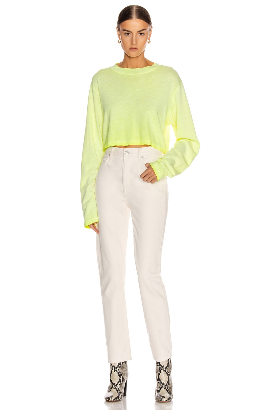 Image 4 of COTTON CITIZEN Tokyo Crop Long Sleeve Tee in Fluorescent Yellow